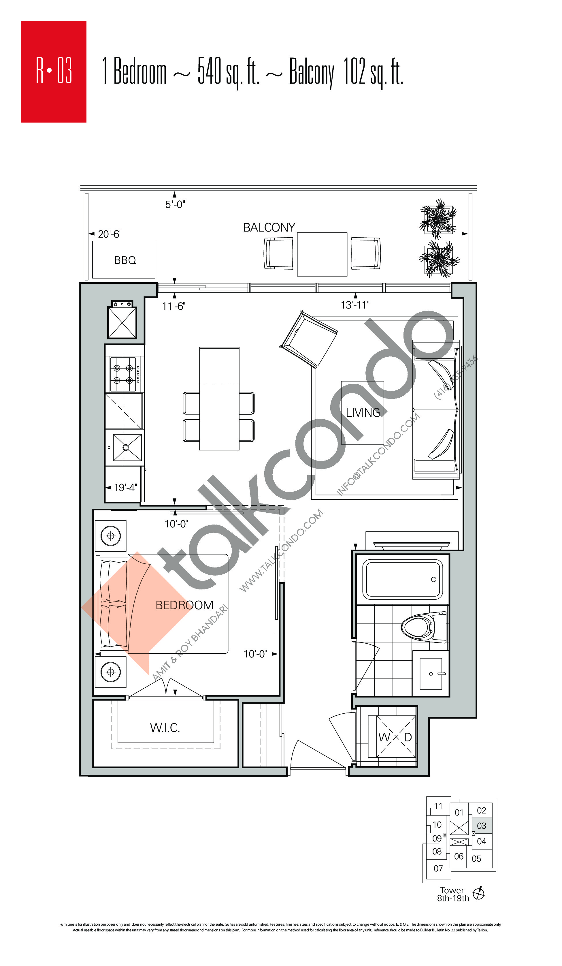 R-03 Floor Plan at Rise Condos - 540 sq.ft