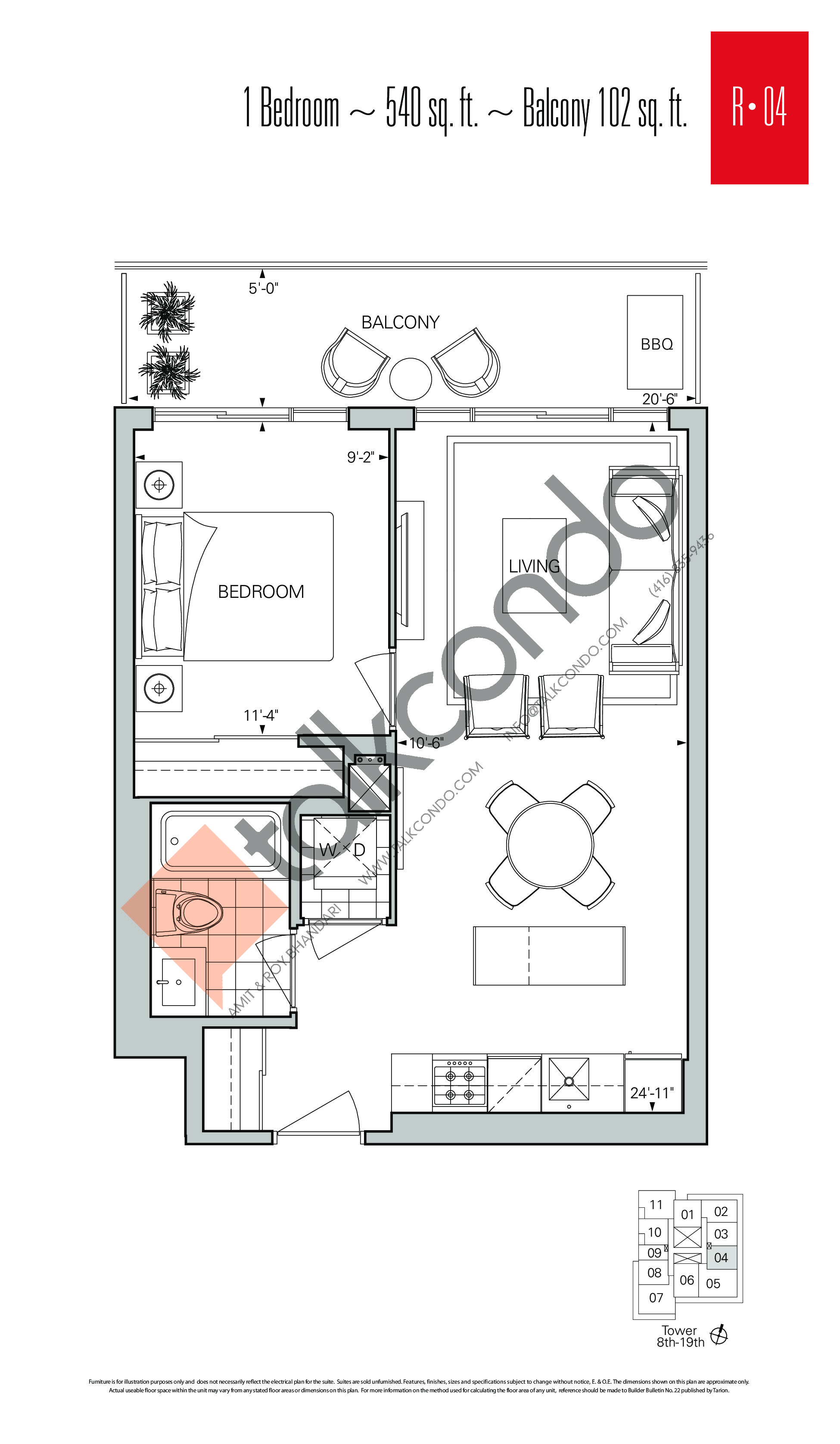 R-04 Floor Plan at Rise Condos - 540 sq.ft