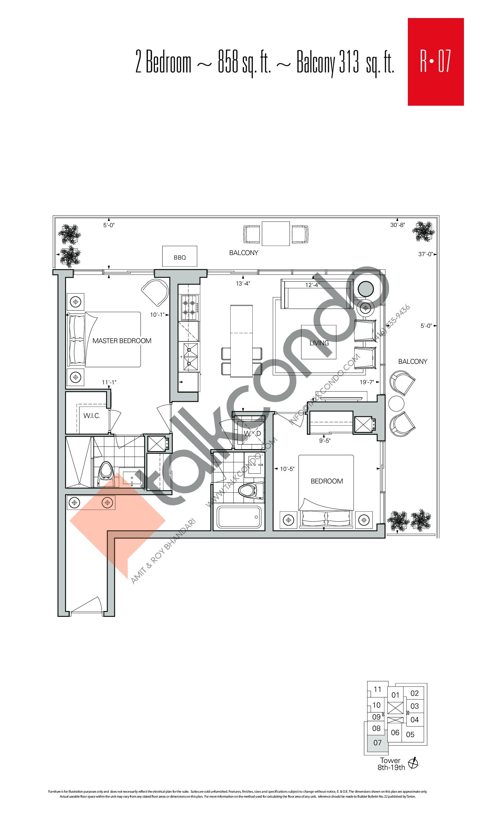 R-07 Floor Plan at Rise Condos - 858 sq.ft