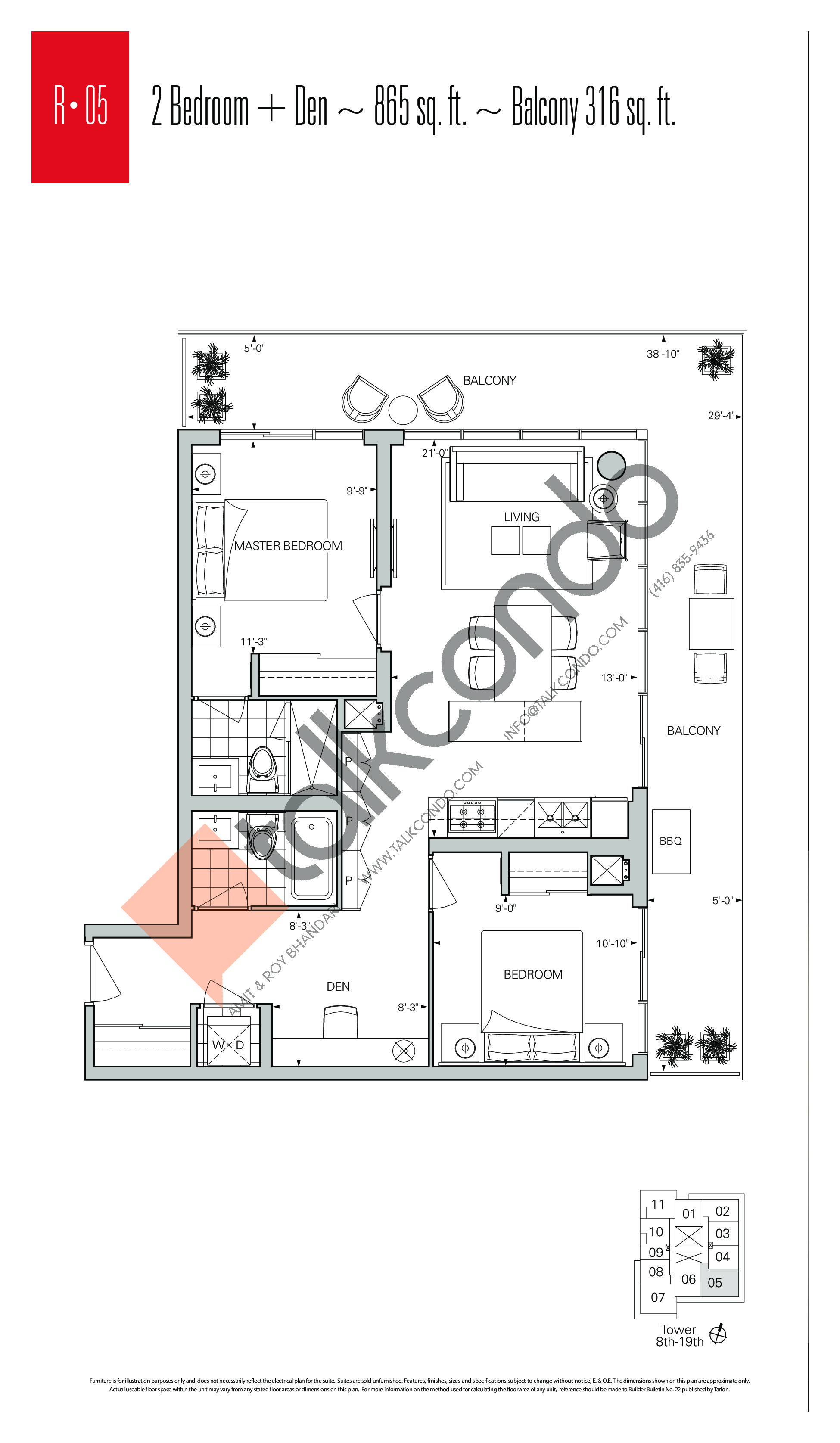 R-05 Floor Plan at Rise Condos - 865 sq.ft