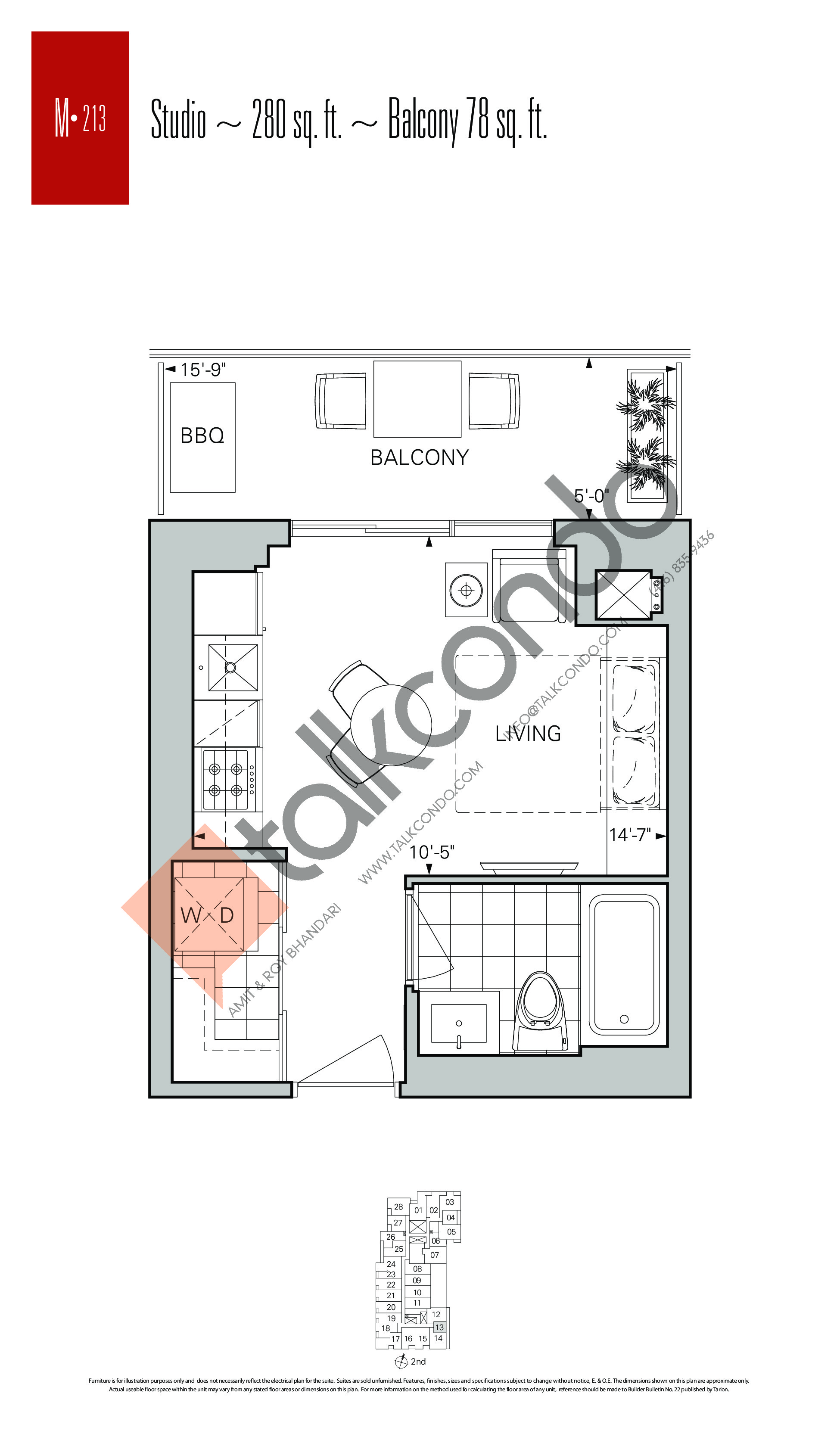 M-213 Floor Plan at Rise Condos - 280 sq.ft