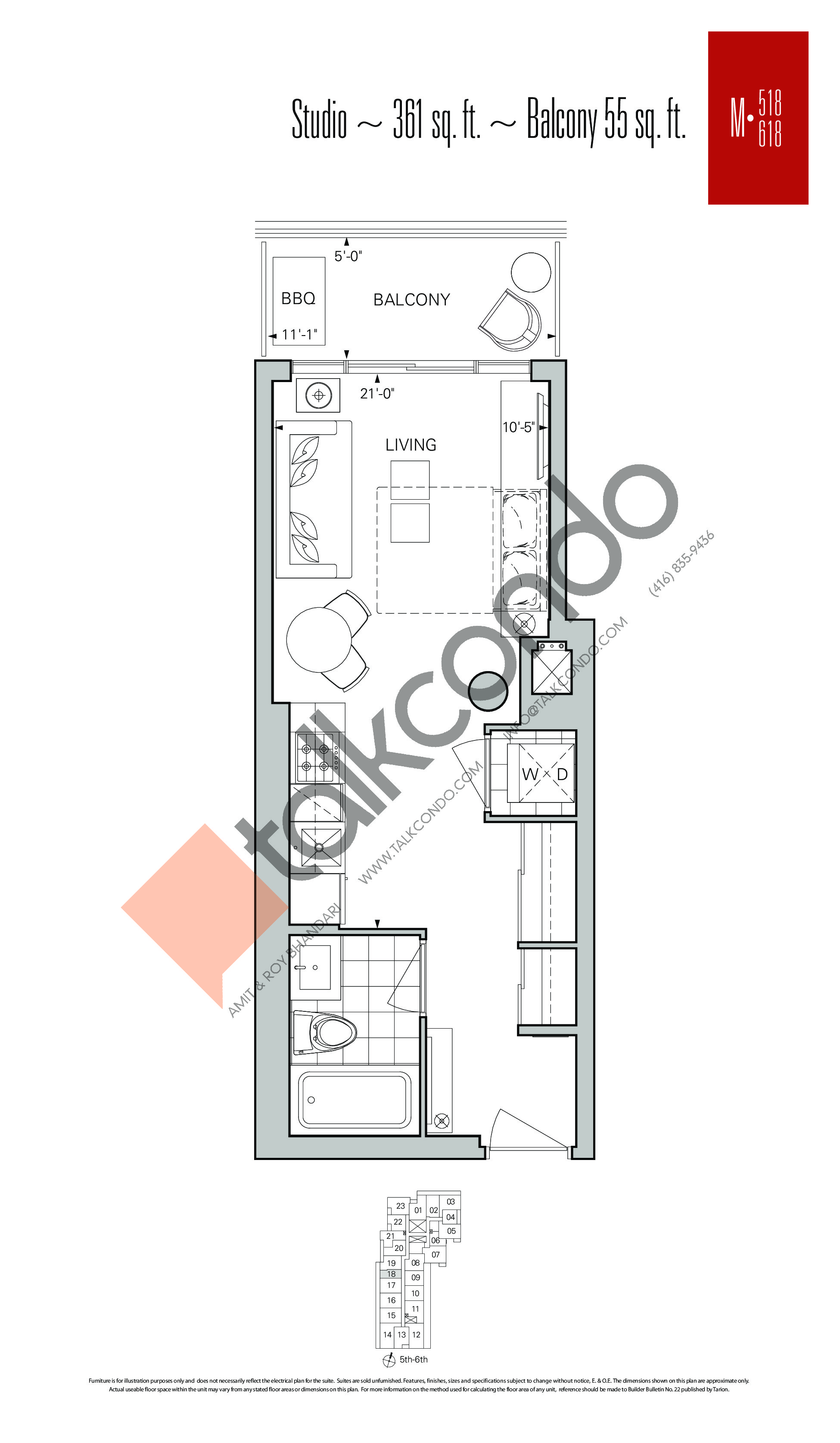 M-518 | M-618 Floor Plan at Rise Condos - 361 sq.ft