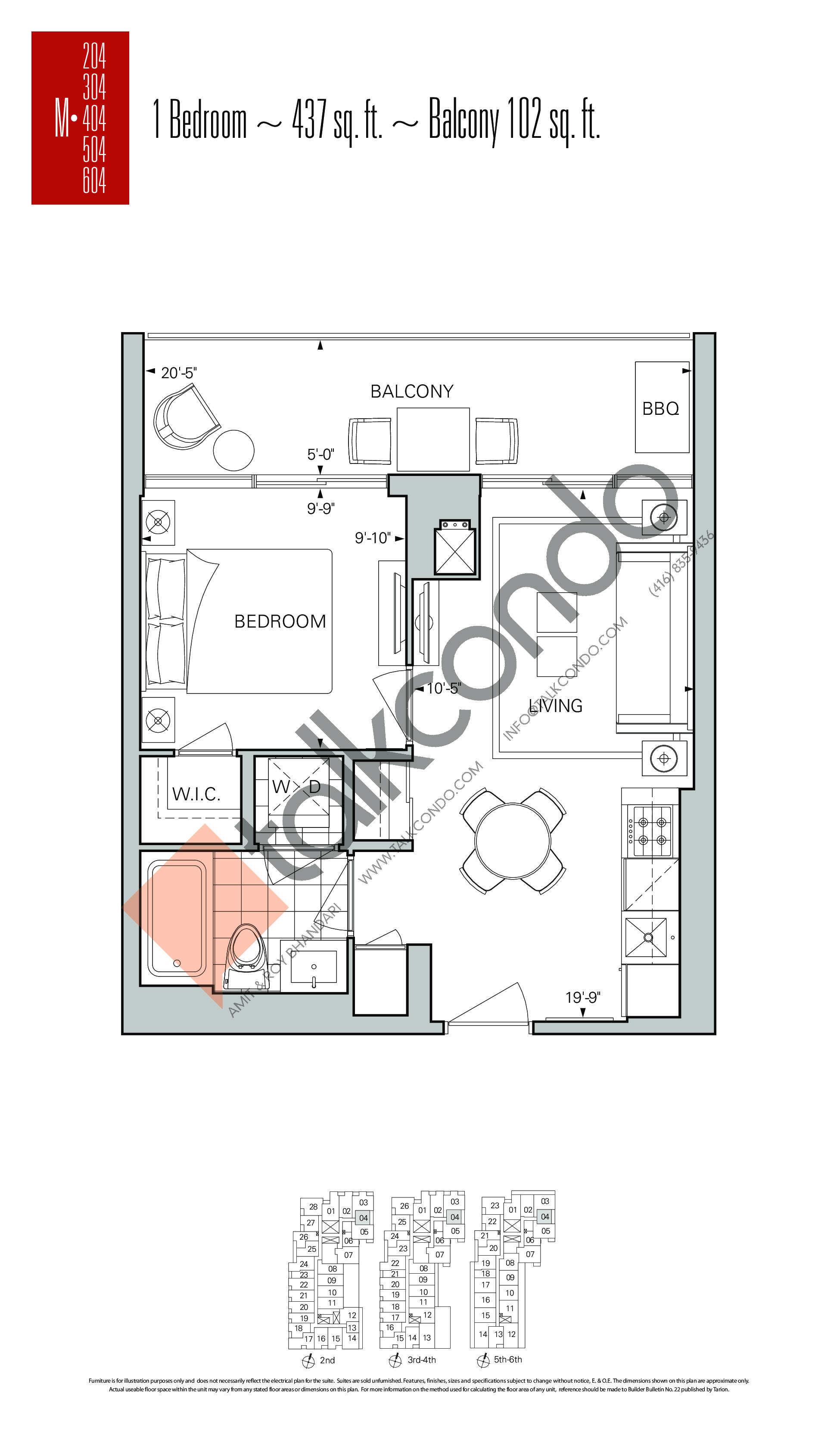 M-04 Floor Plan at Rise Condos - 437 sq.ft