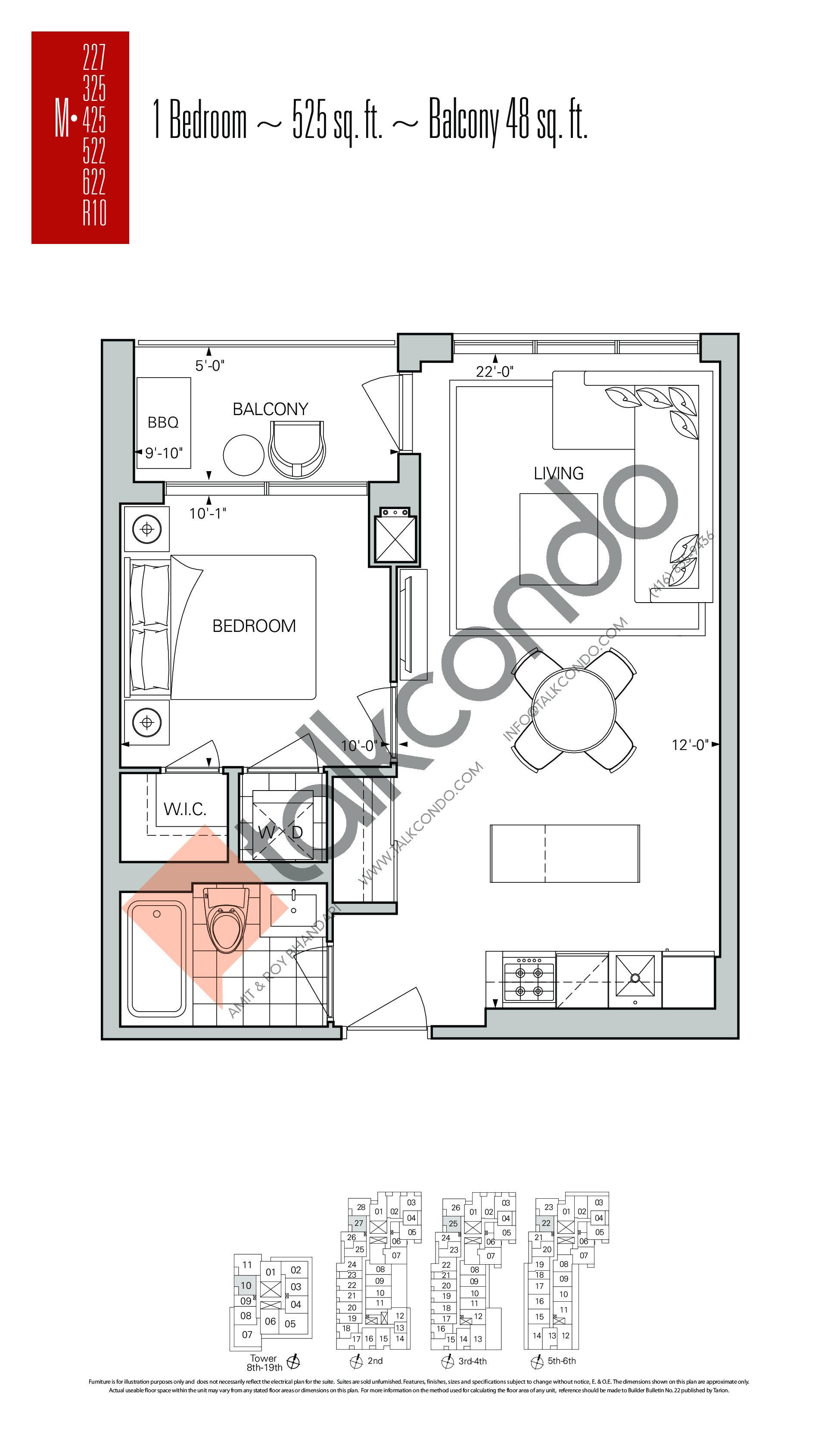 M-227 | M-325 | M-425 | M-522 | M-622 | M-R10 Floor Plan at Rise Condos - 525 sq.ft
