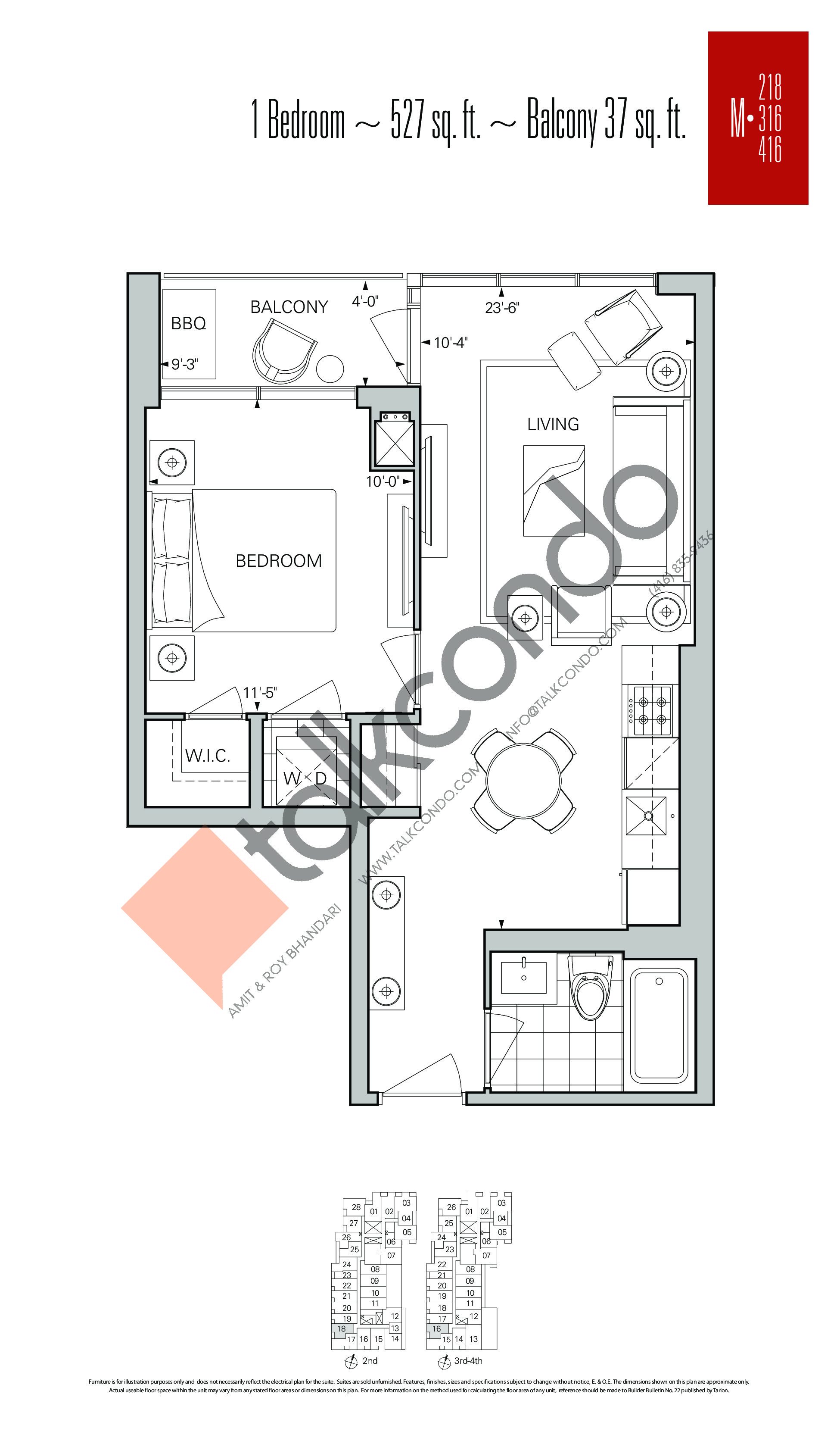 M-218 | M-316 | M-416 Floor Plan at Rise Condos - 527 sq.ft