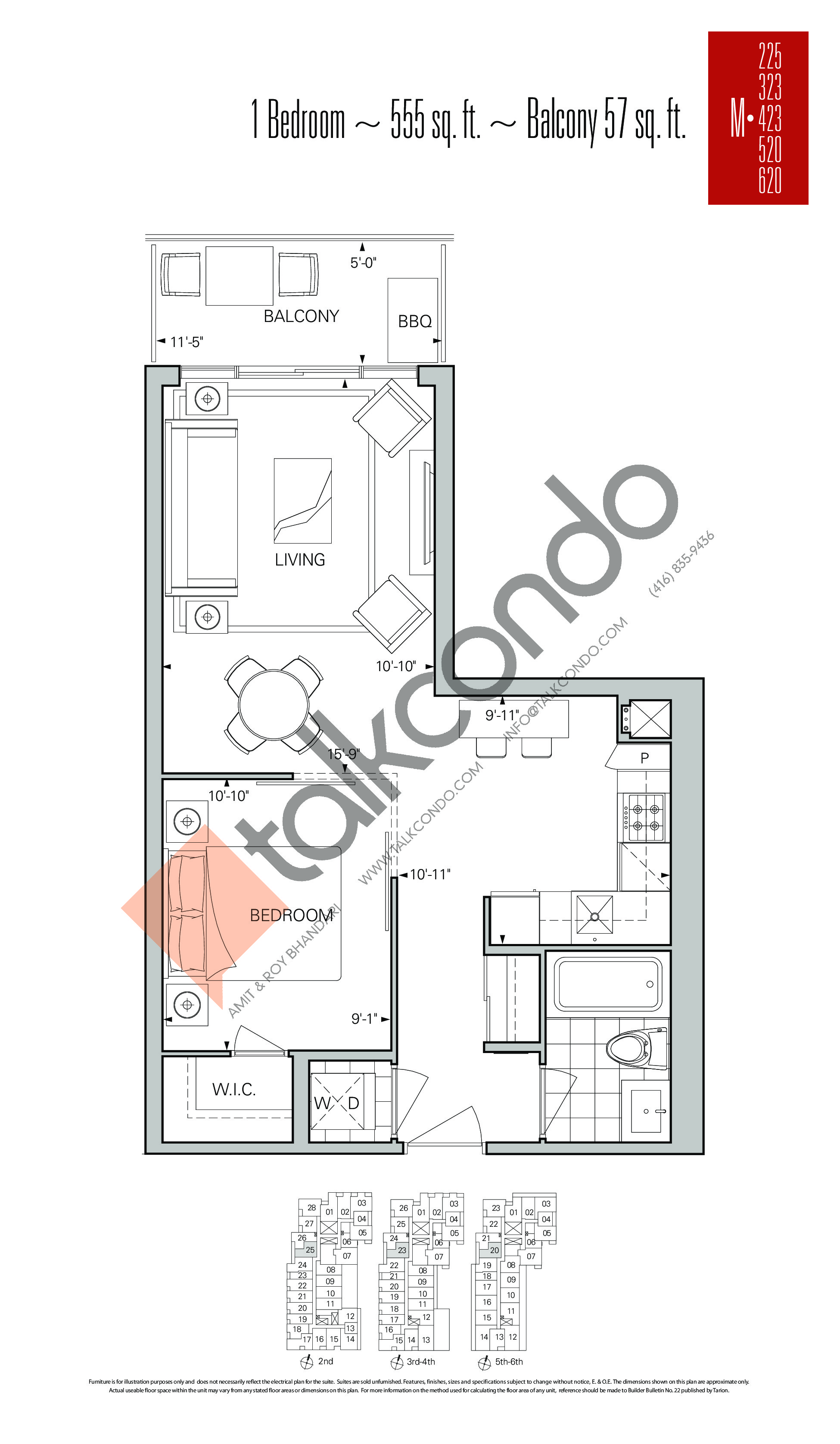 M-225 | M-323 | M-423 | M-520 | M-620 Floor Plan at Rise Condos - 555 sq.ft