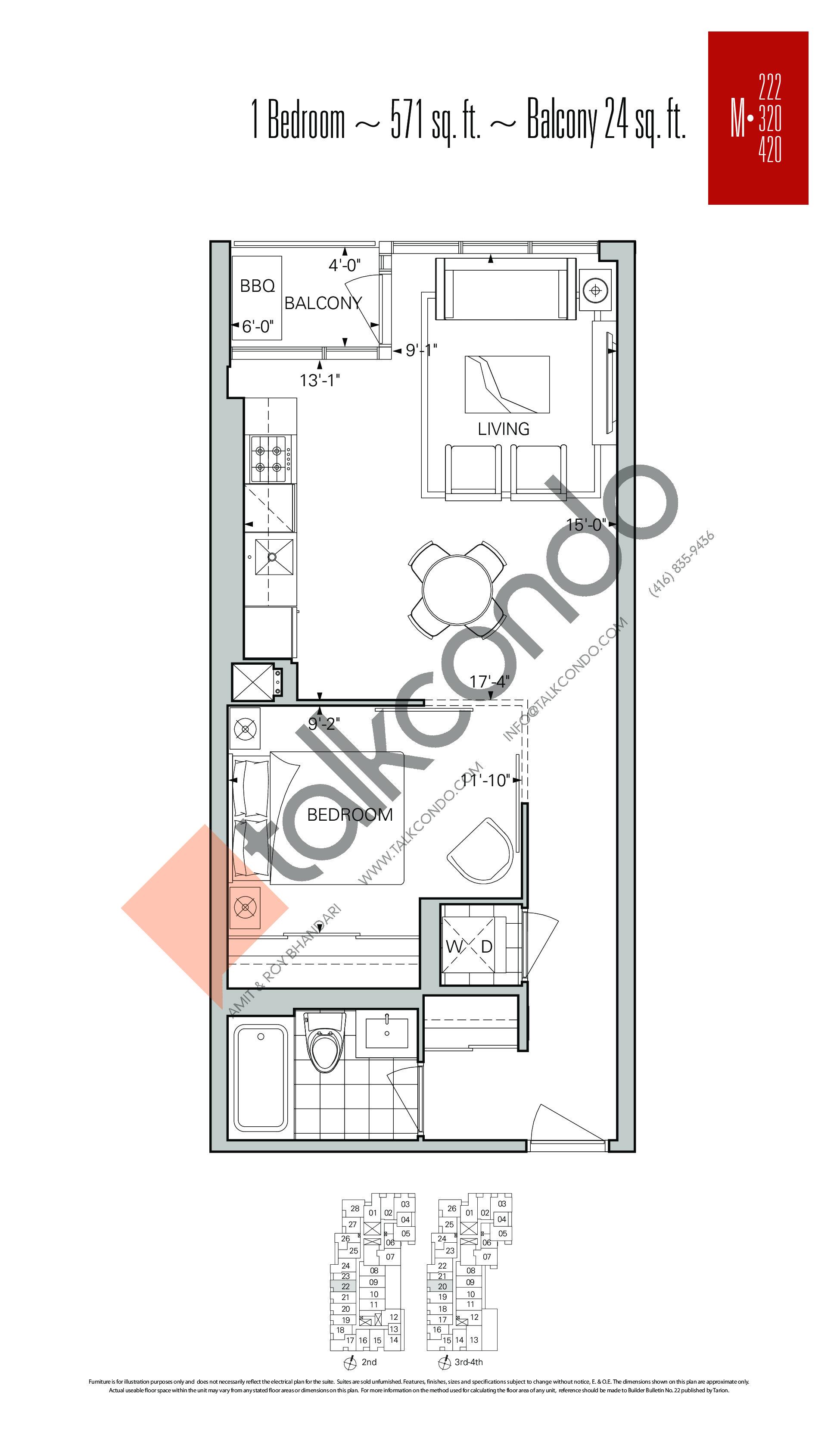 M-222 | M-320 | M-420 Floor Plan at Rise Condos - 571 sq.ft