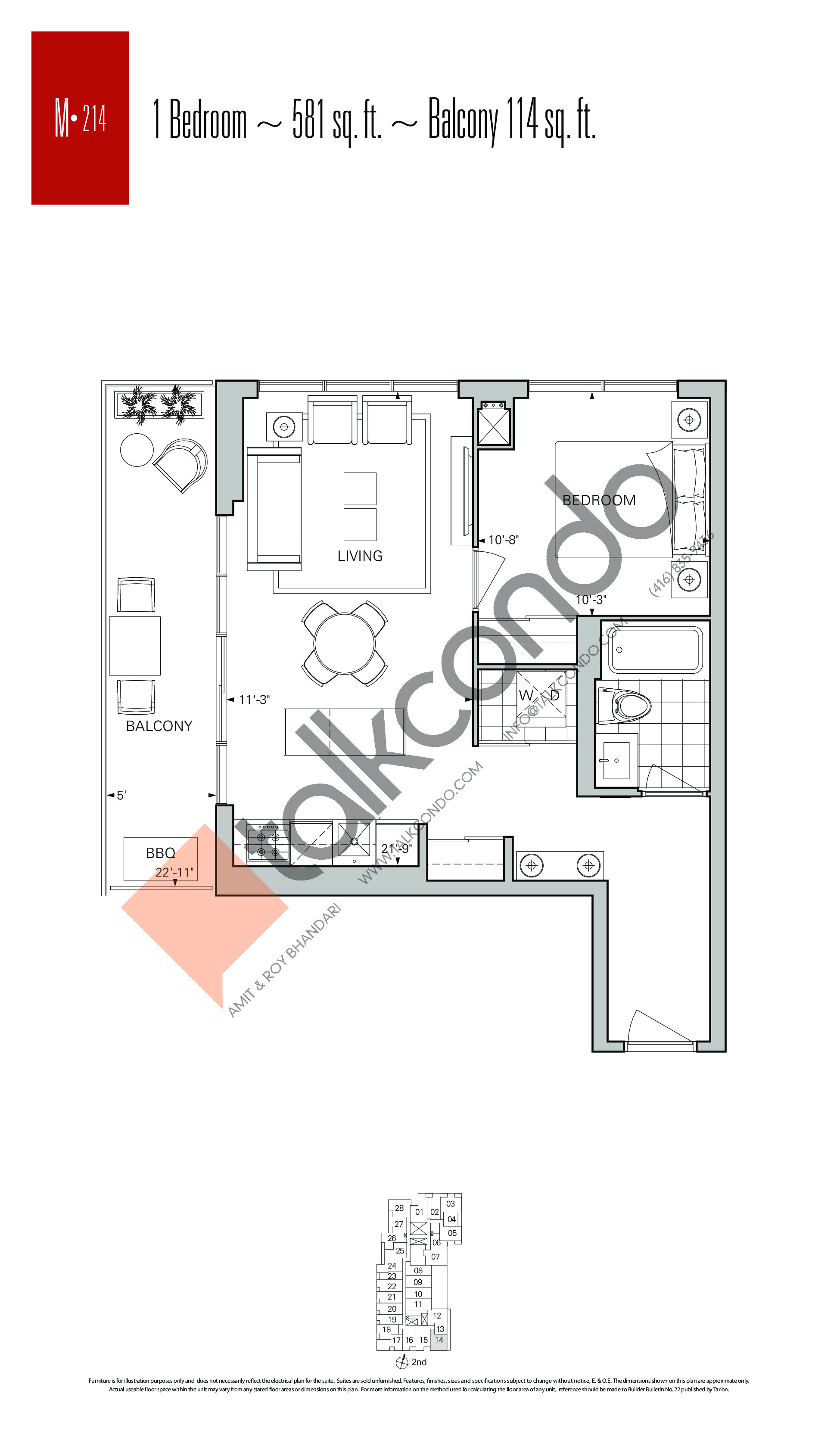 M-214 Floor Plan at Rise Condos - 581 sq.ft