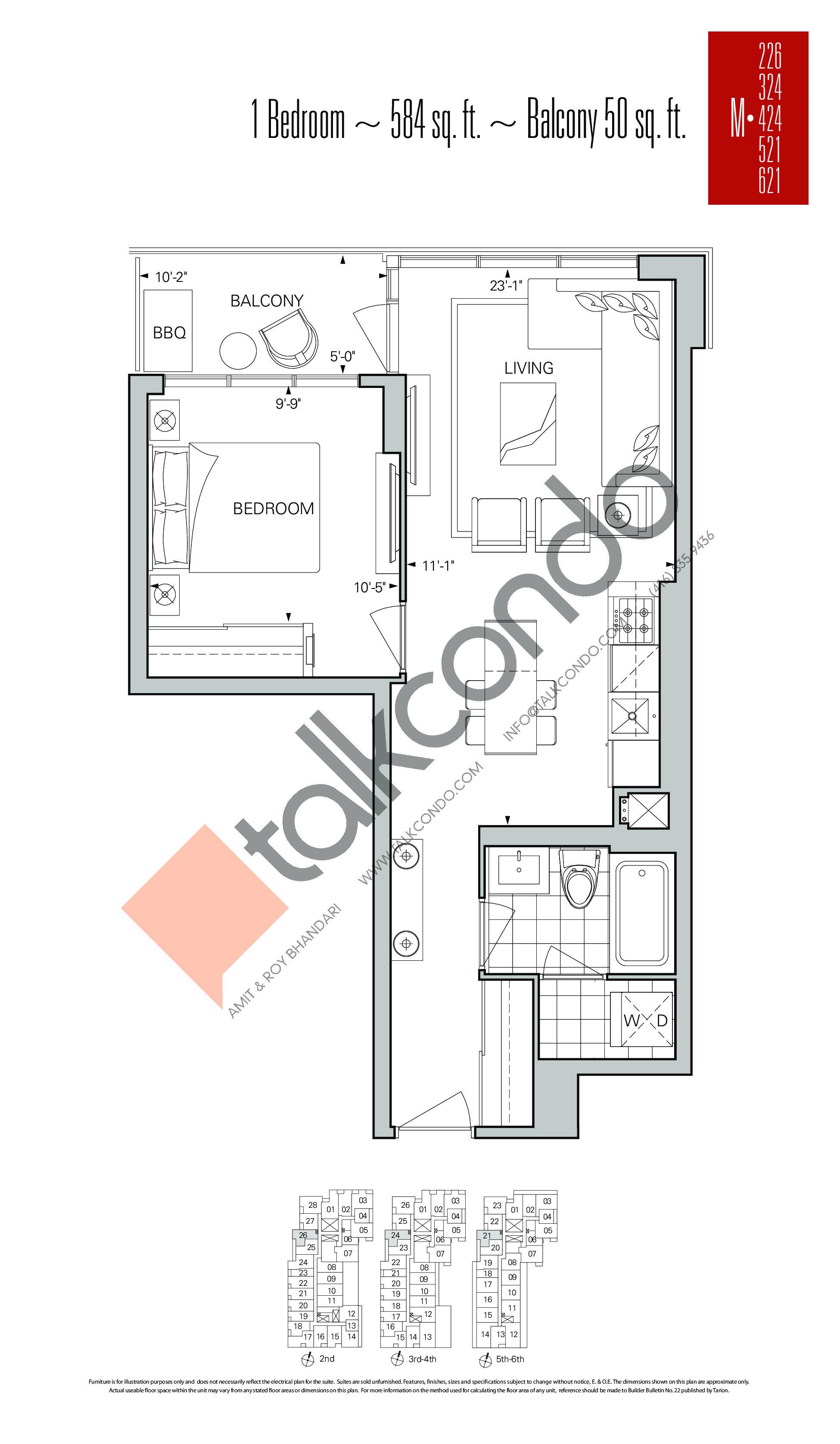 M-226 | M-324 | M-424 | M-521 | M-621 Floor Plan at Rise Condos - 584 sq.ft