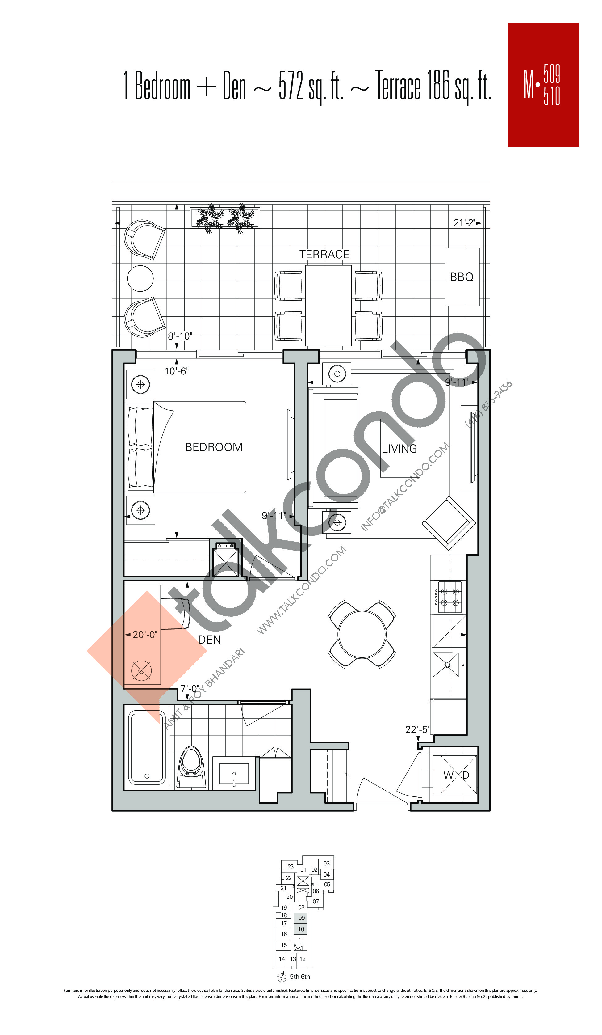 M-509 | M-510 Floor Plan at Rise Condos - 572 sq.ft