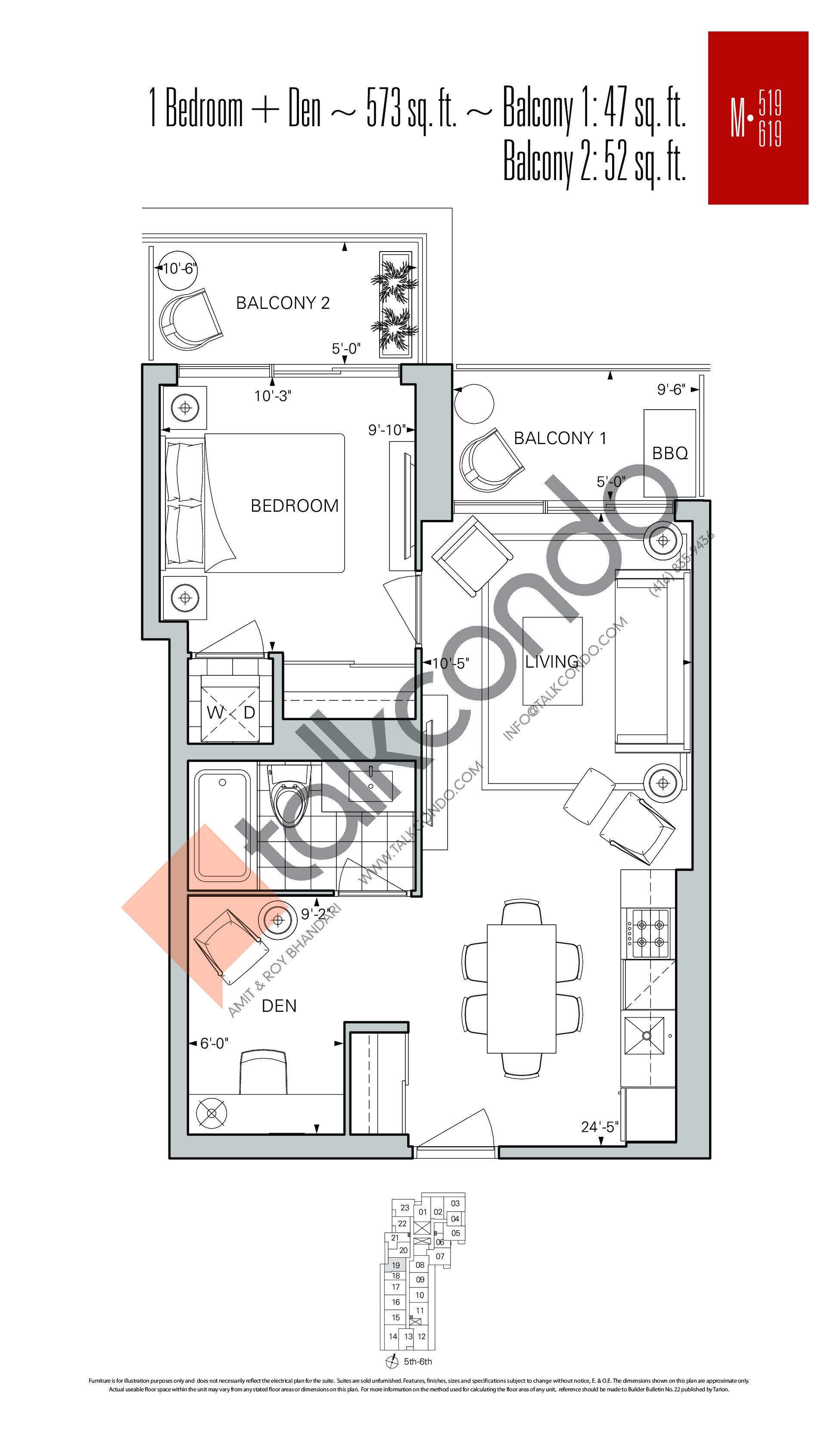M-519 | M-619 Floor Plan at Rise Condos - 573 sq.ft