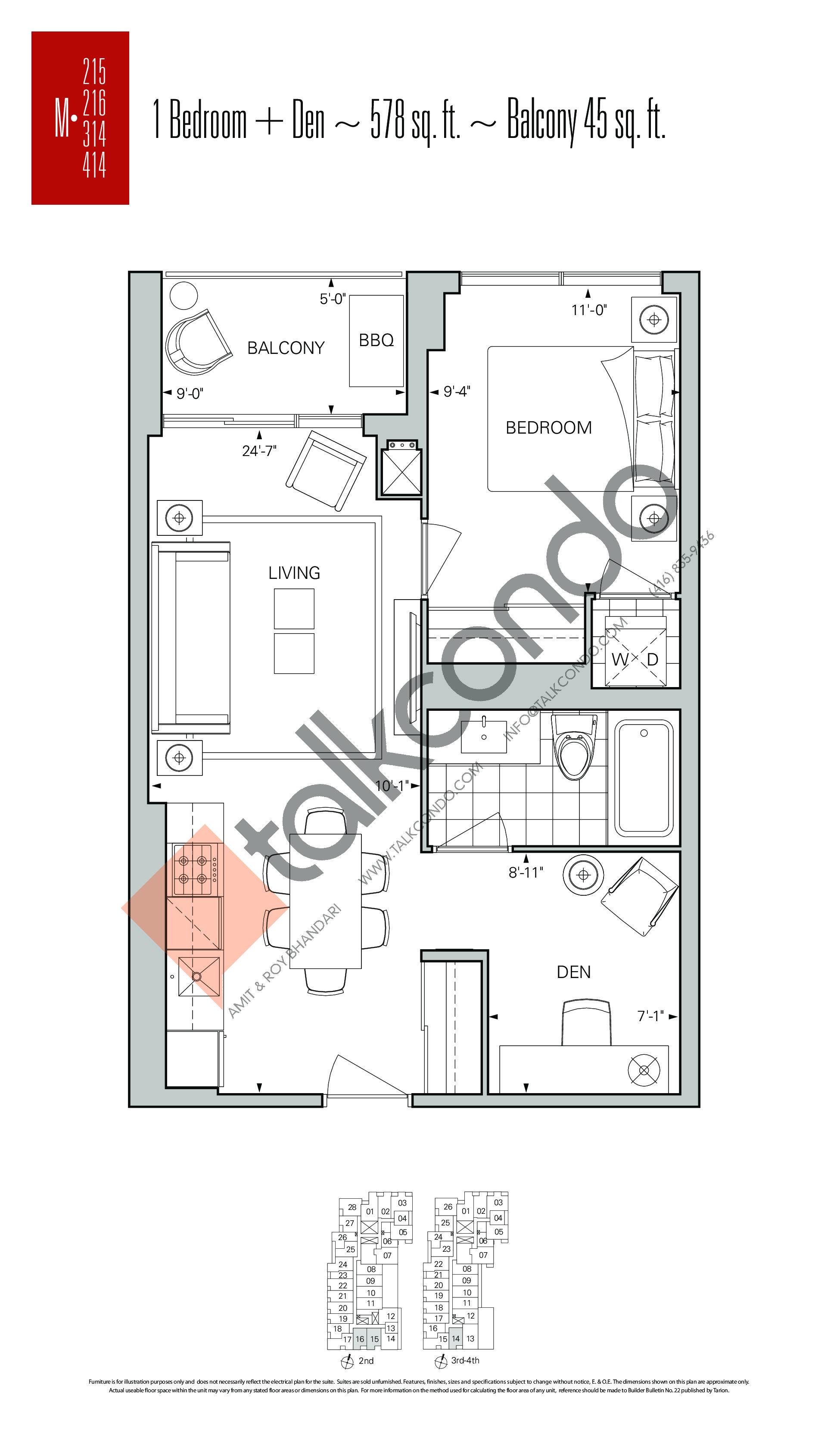 M-215 | M-216 | M-314 | M-414 Floor Plan at Rise Condos - 578 sq.ft