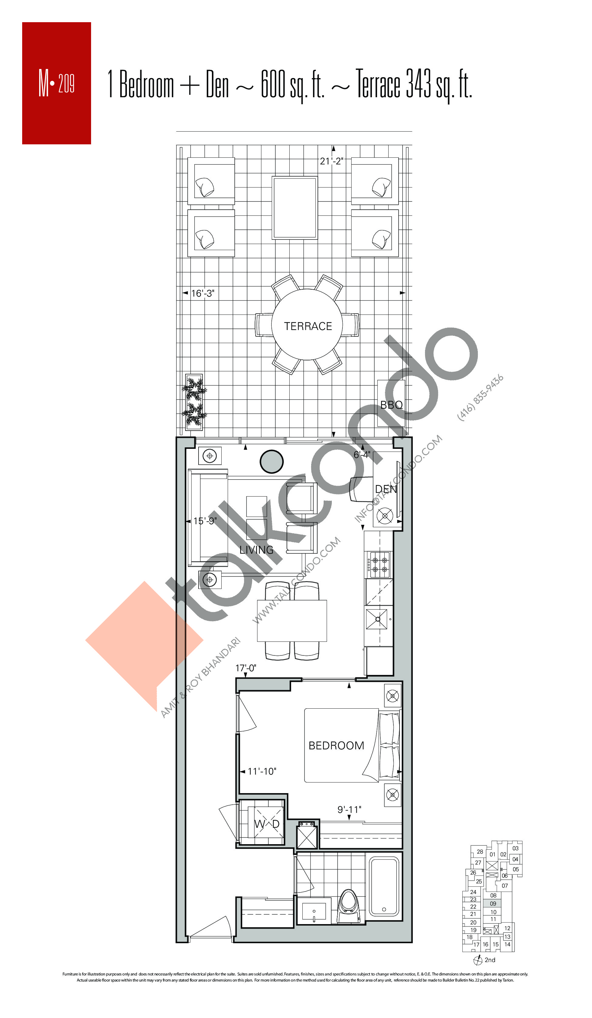 M-209 Floor Plan at Rise Condos - 600 sq.ft