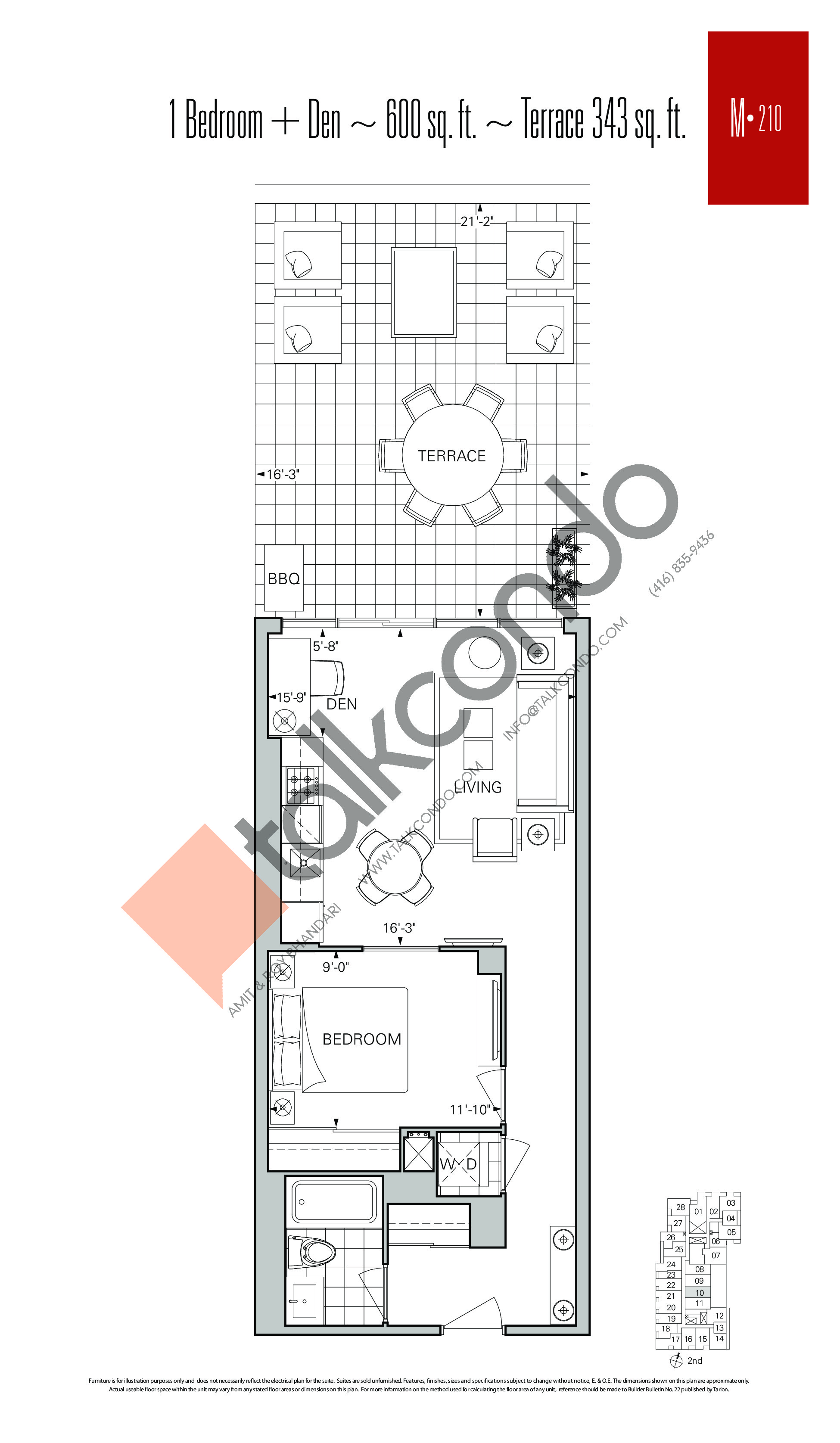 M-210 Floor Plan at Rise Condos - 600 sq.ft
