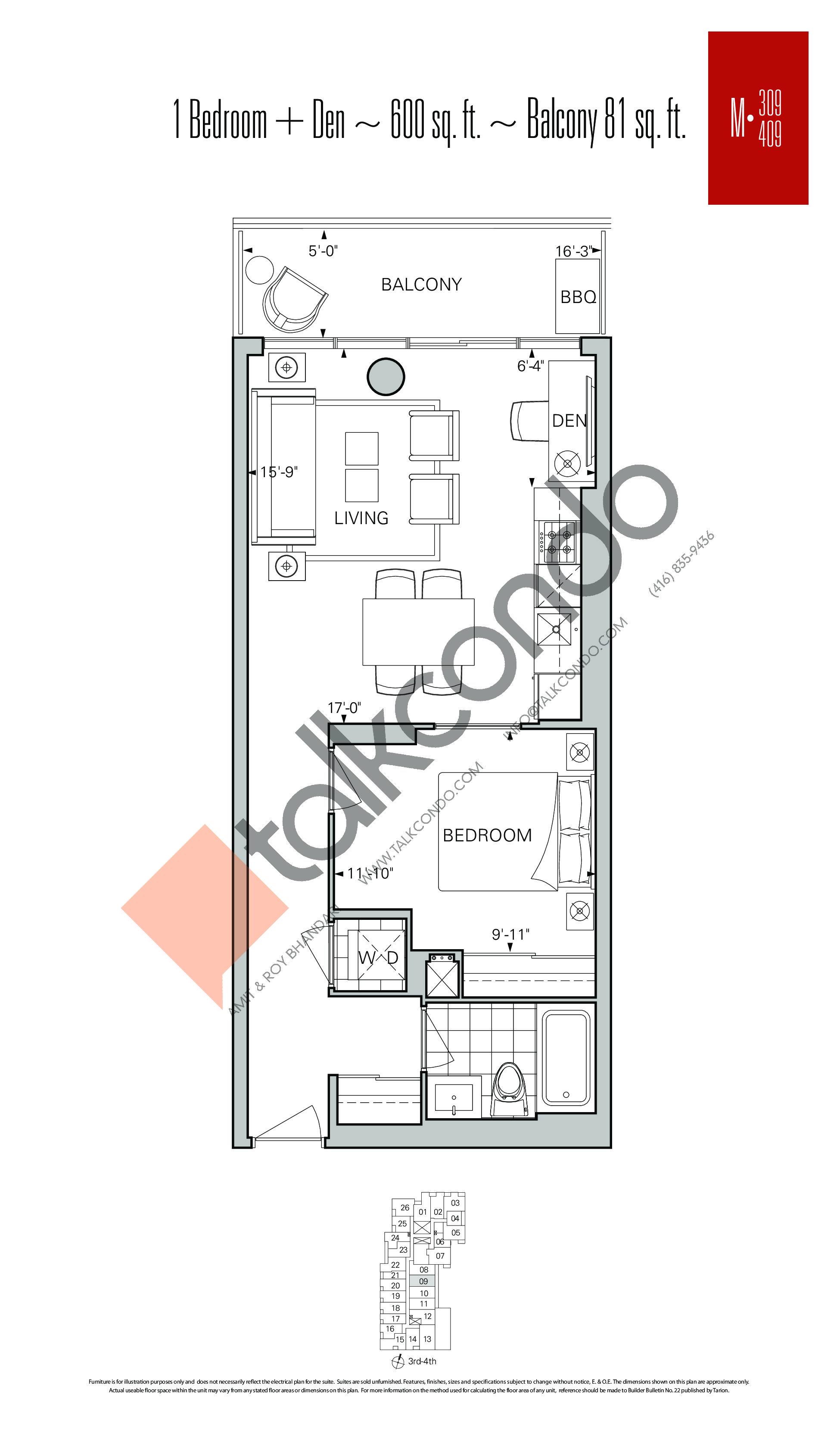 M-309   M-409 Floor Plan at Rise Condos - 600 sq.ft