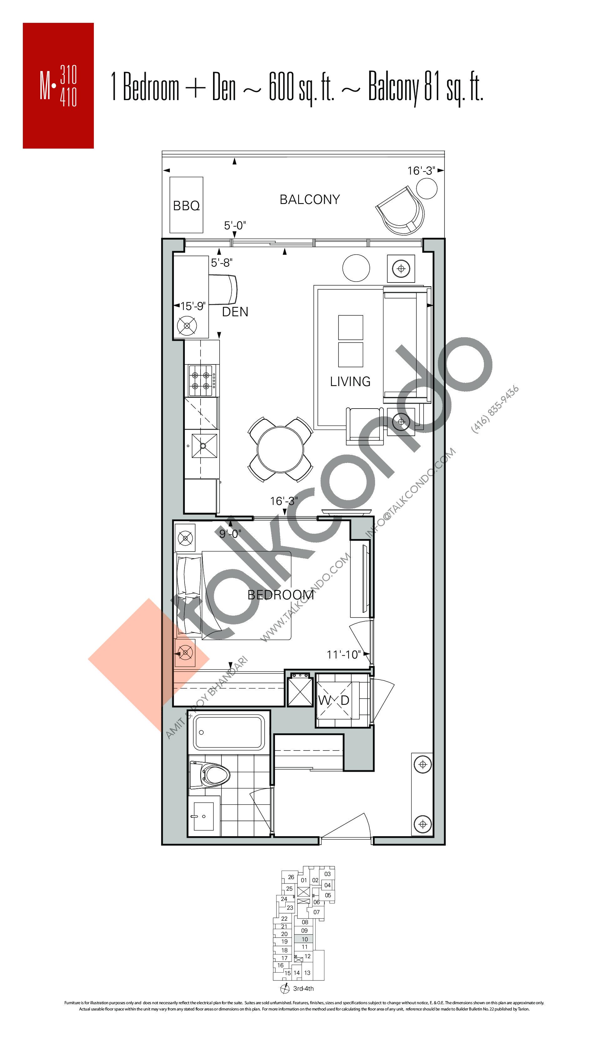 M-310 | M-410 Floor Plan at Rise Condos - 600 sq.ft