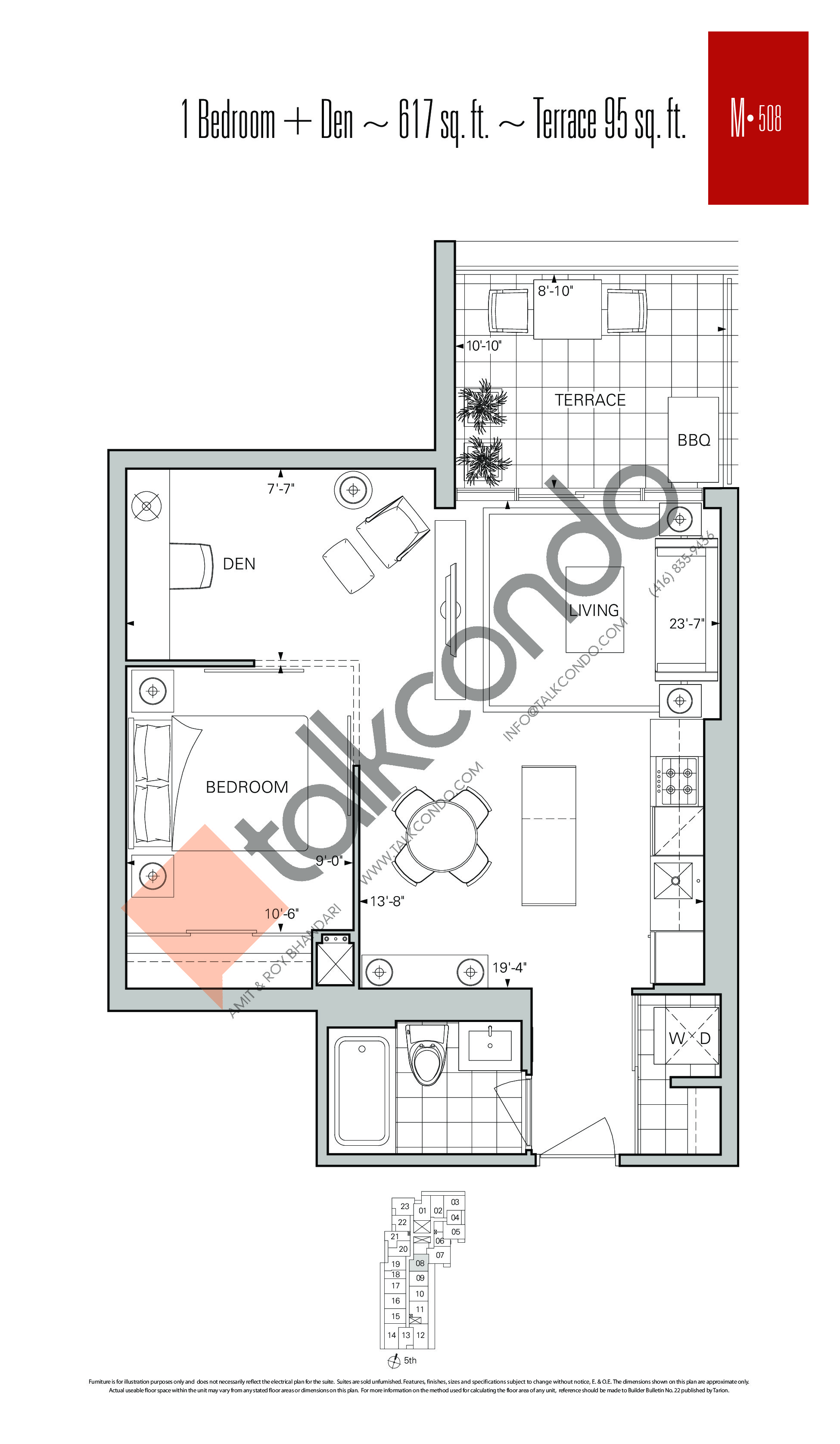 M-508 Floor Plan at Rise Condos - 617 sq.ft