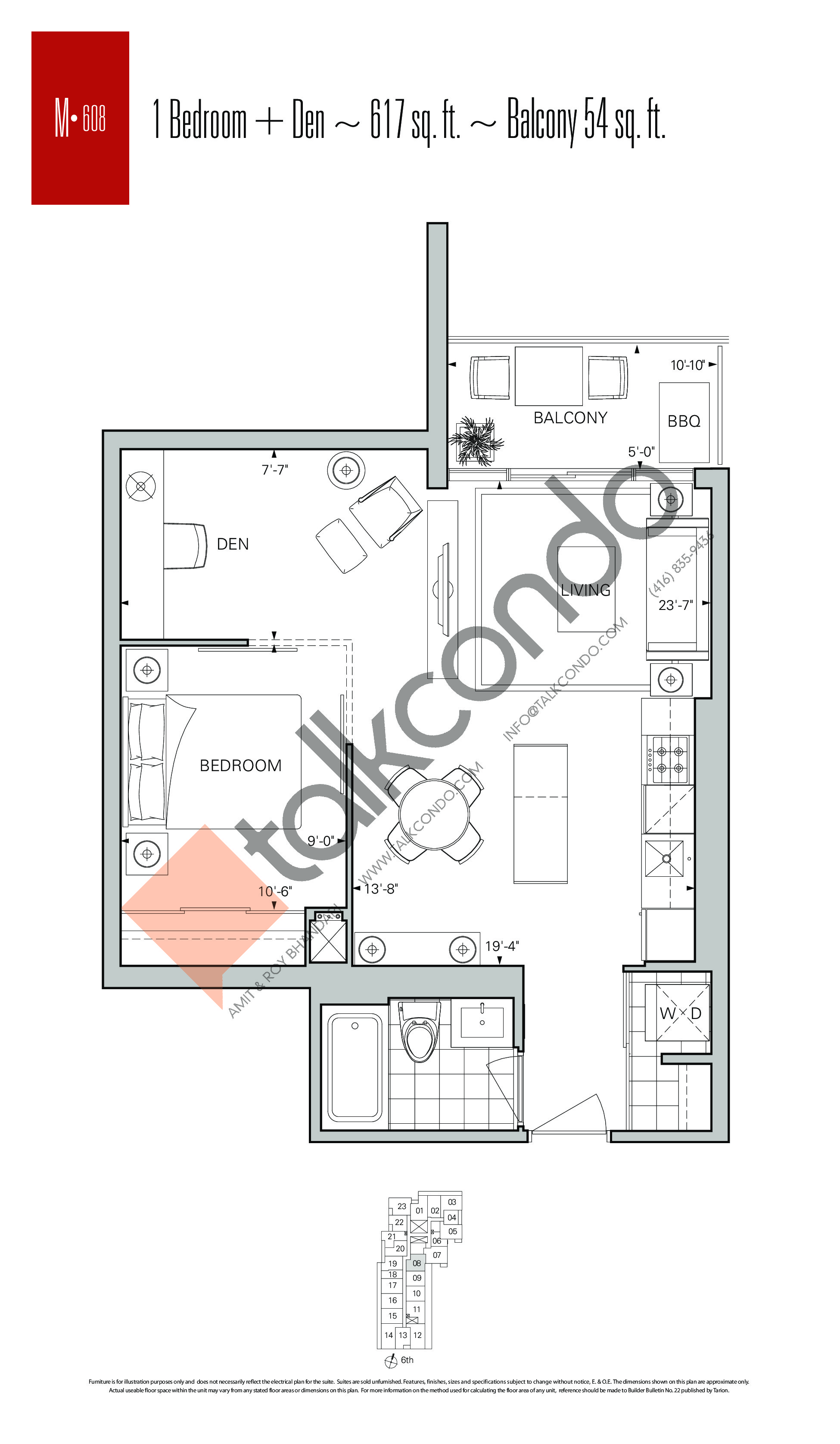 M-608 Floor Plan at Rise Condos - 617 sq.ft