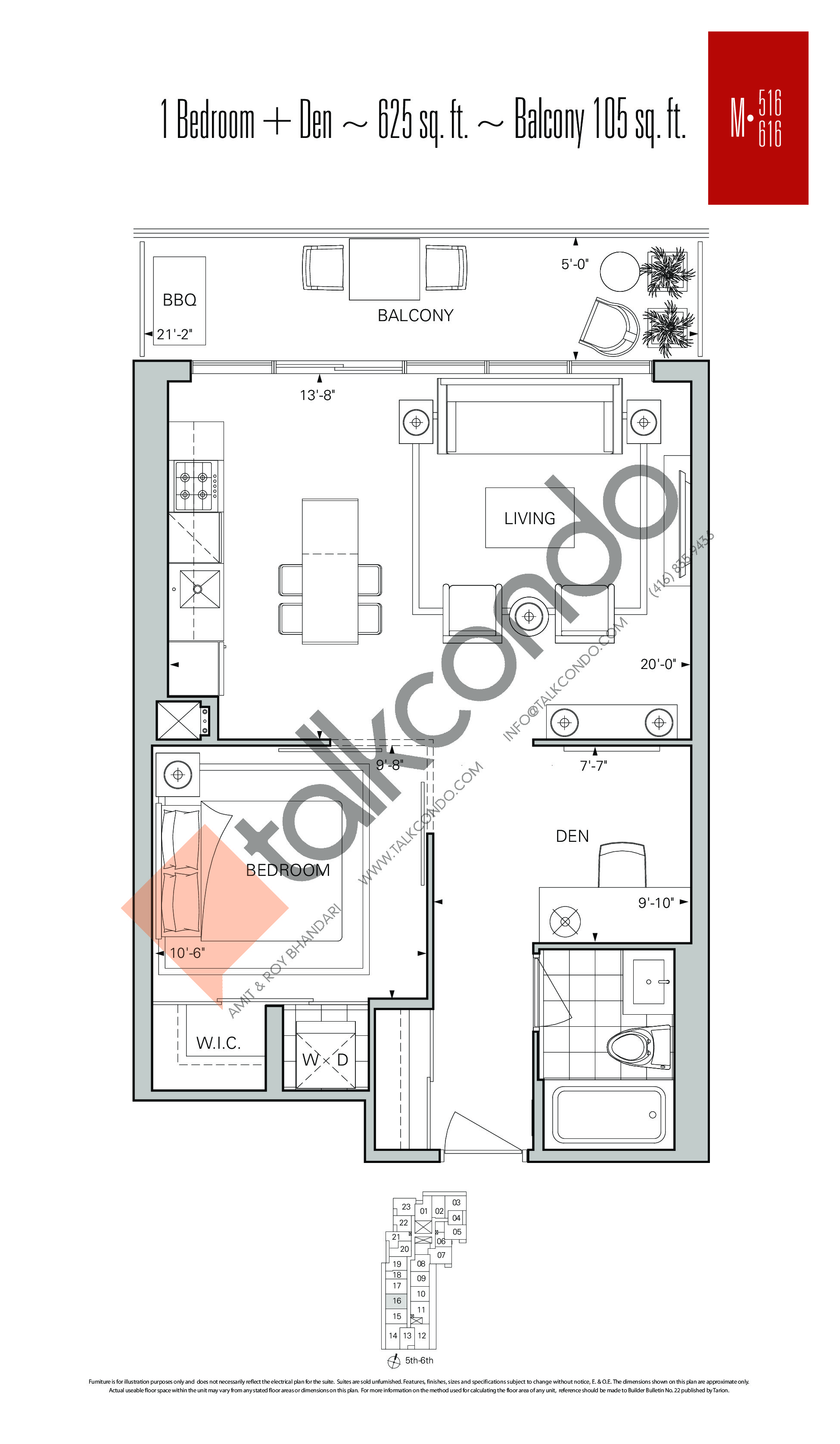 M-516 | M-616 Floor Plan at Rise Condos - 625 sq.ft