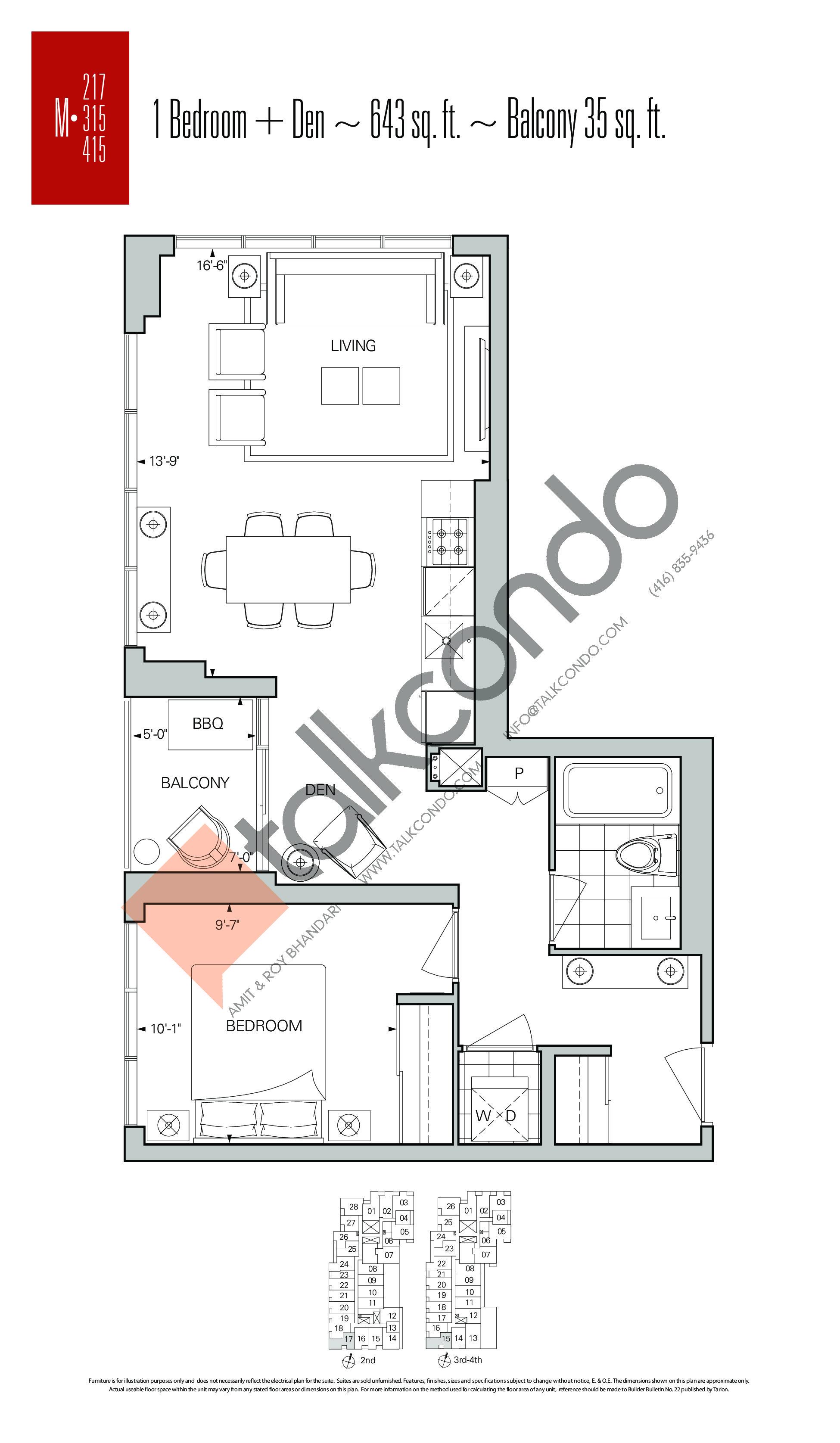 M-217   M-315   M-415 Floor Plan at Rise Condos - 643 sq.ft