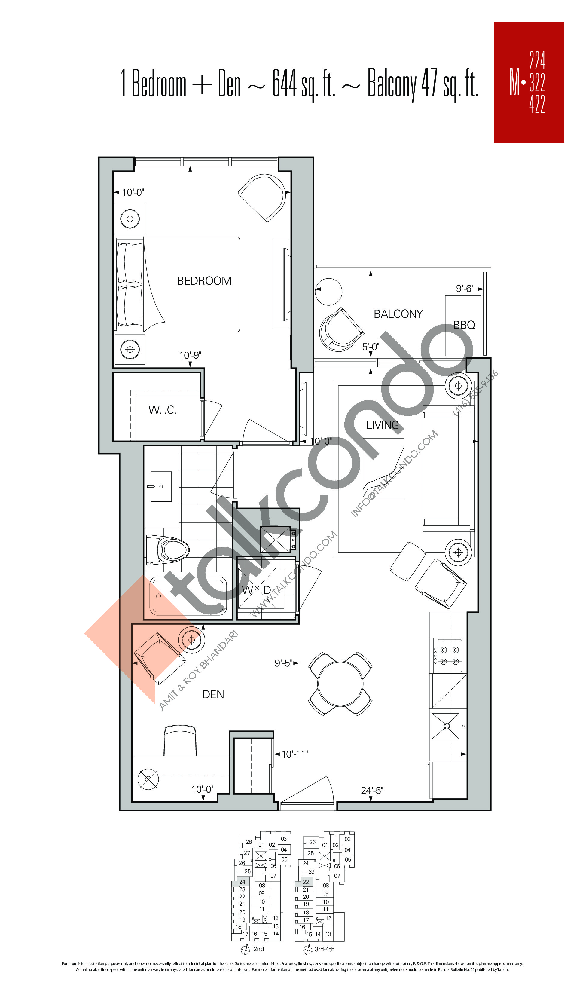 M-224 | M-322 | M-422 Floor Plan at Rise Condos - 644 sq.ft