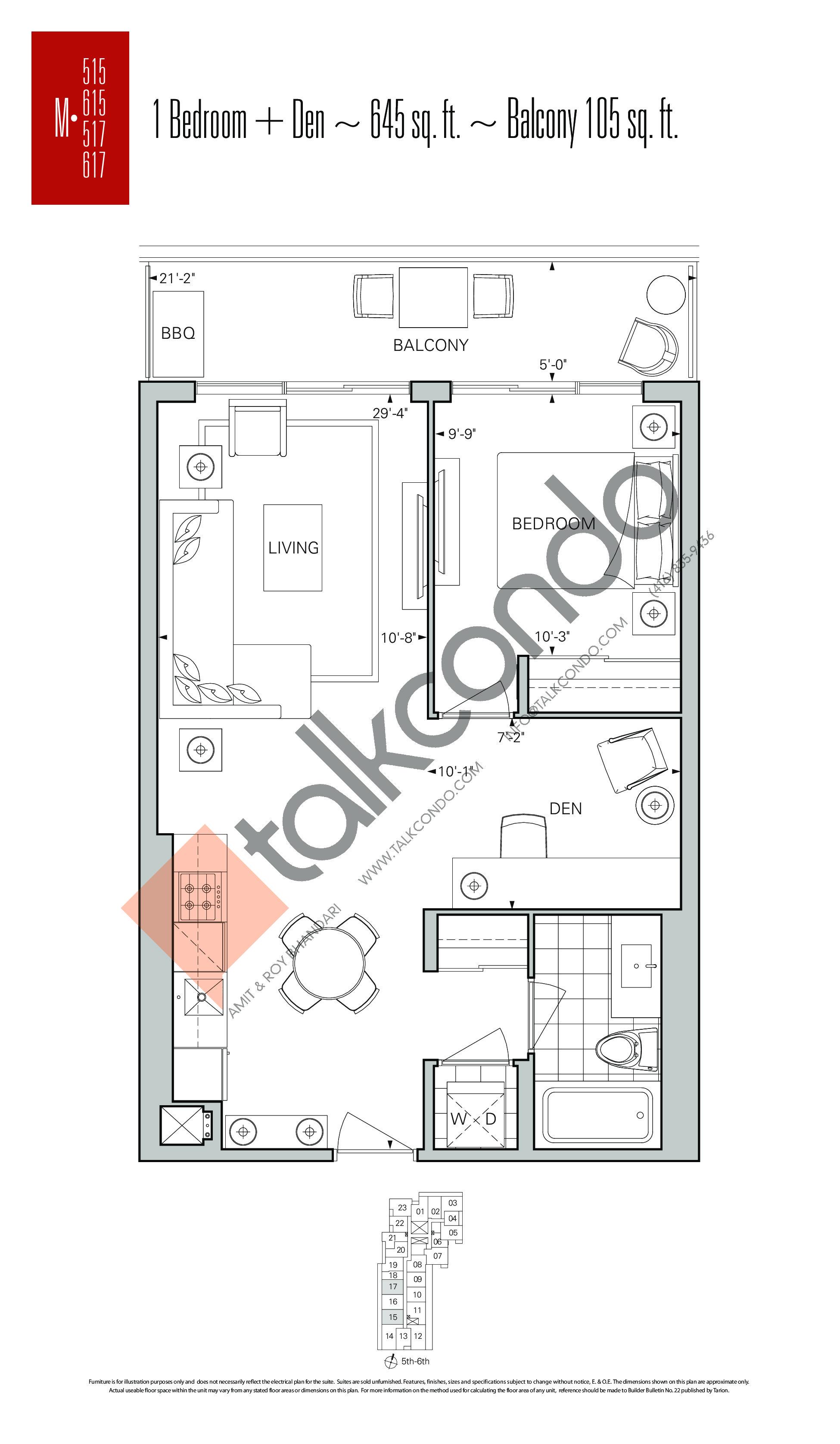 M-515 | M-615 | M-517 | M-617 Floor Plan at Rise Condos - 645 sq.ft