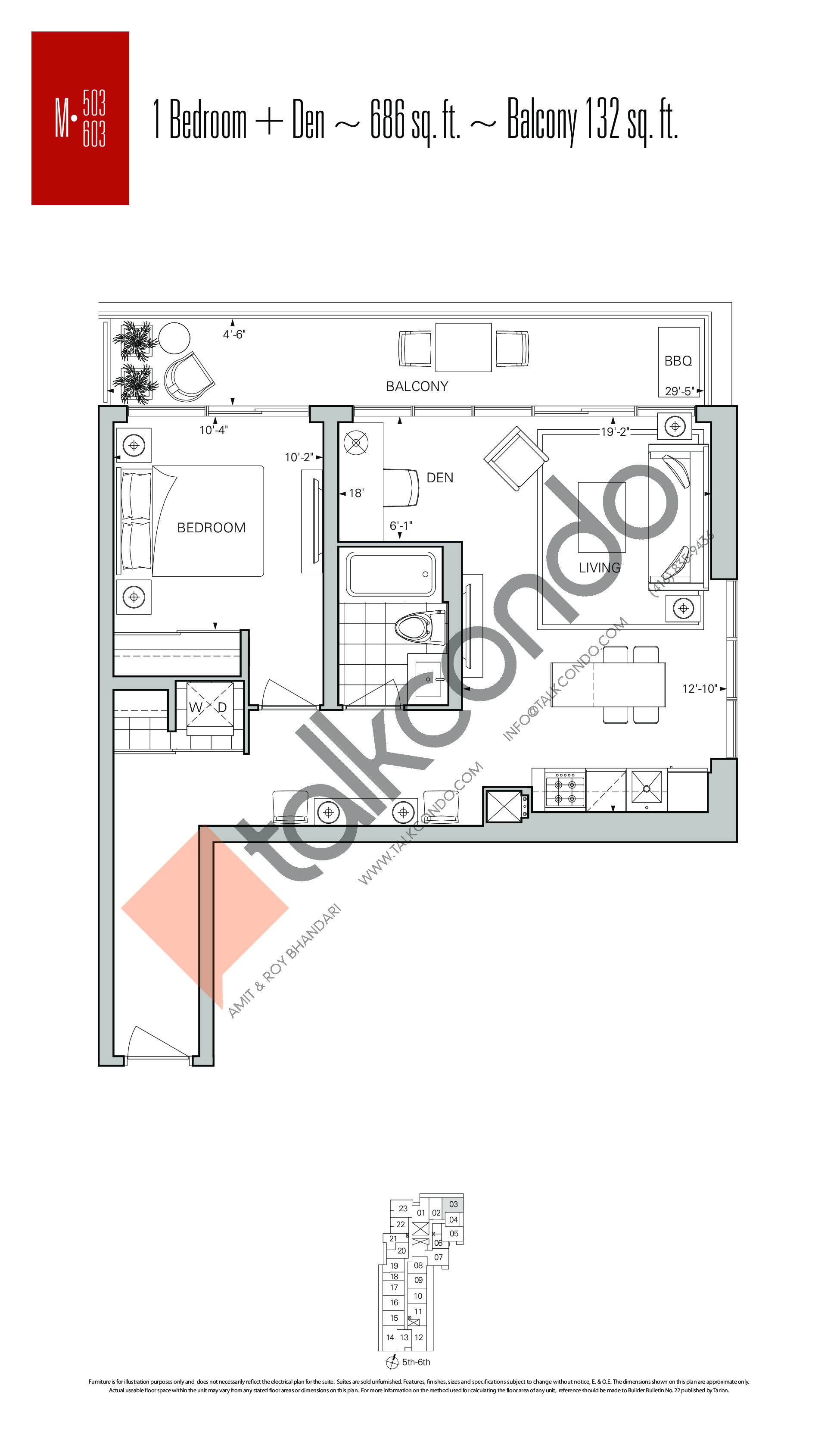 M-503 | M-603 Floor Plan at Rise Condos - 686 sq.ft