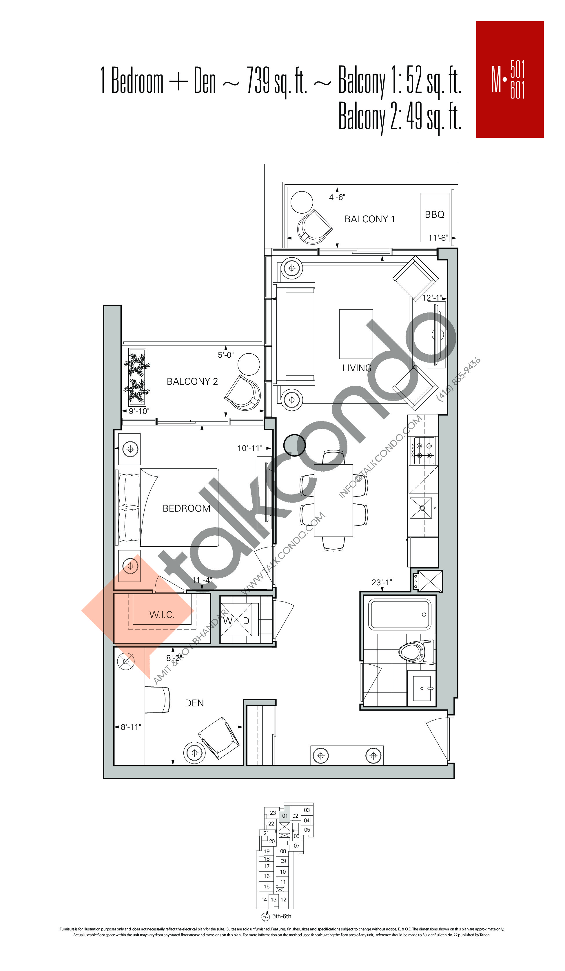 M-501 | M-601 Floor Plan at Rise Condos - 739 sq.ft