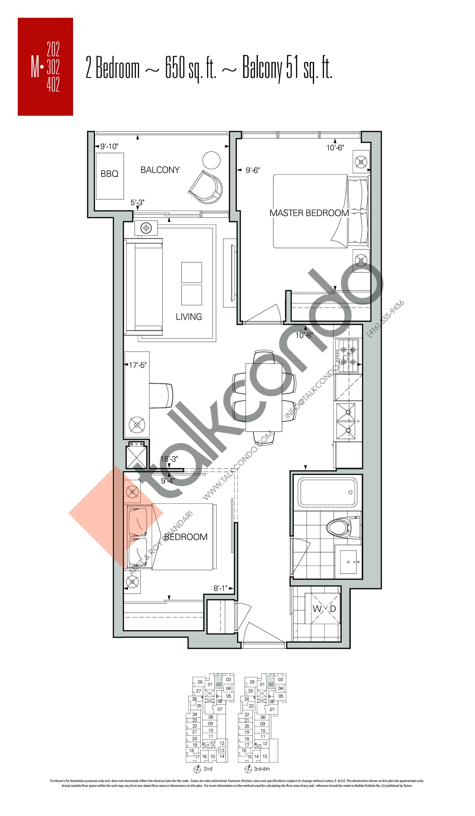 M-02 Floor Plan at Rise Condos - 650 sq.ft