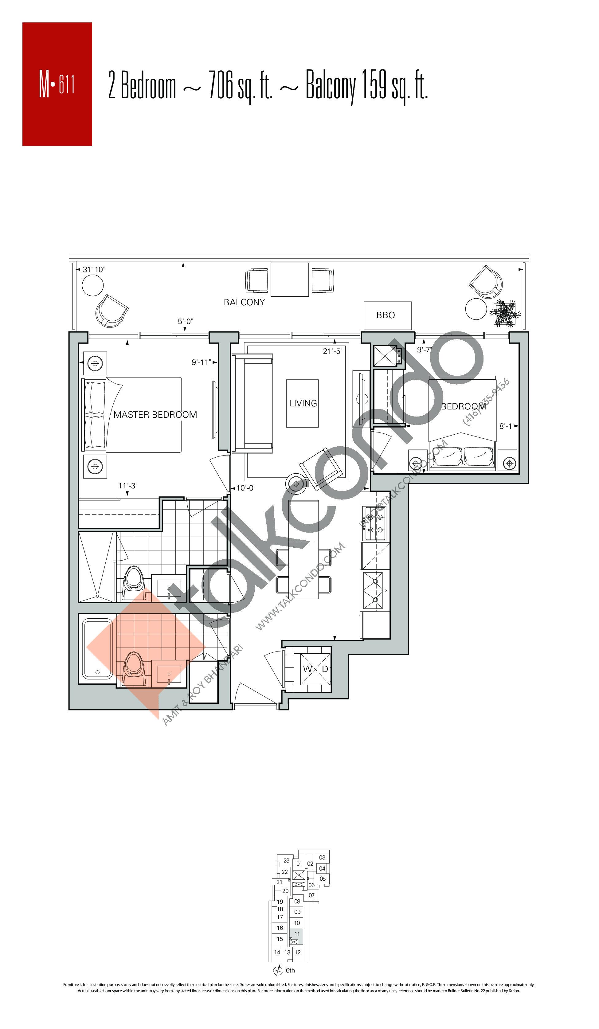 M-611 Floor Plan at Rise Condos - 706 sq.ft