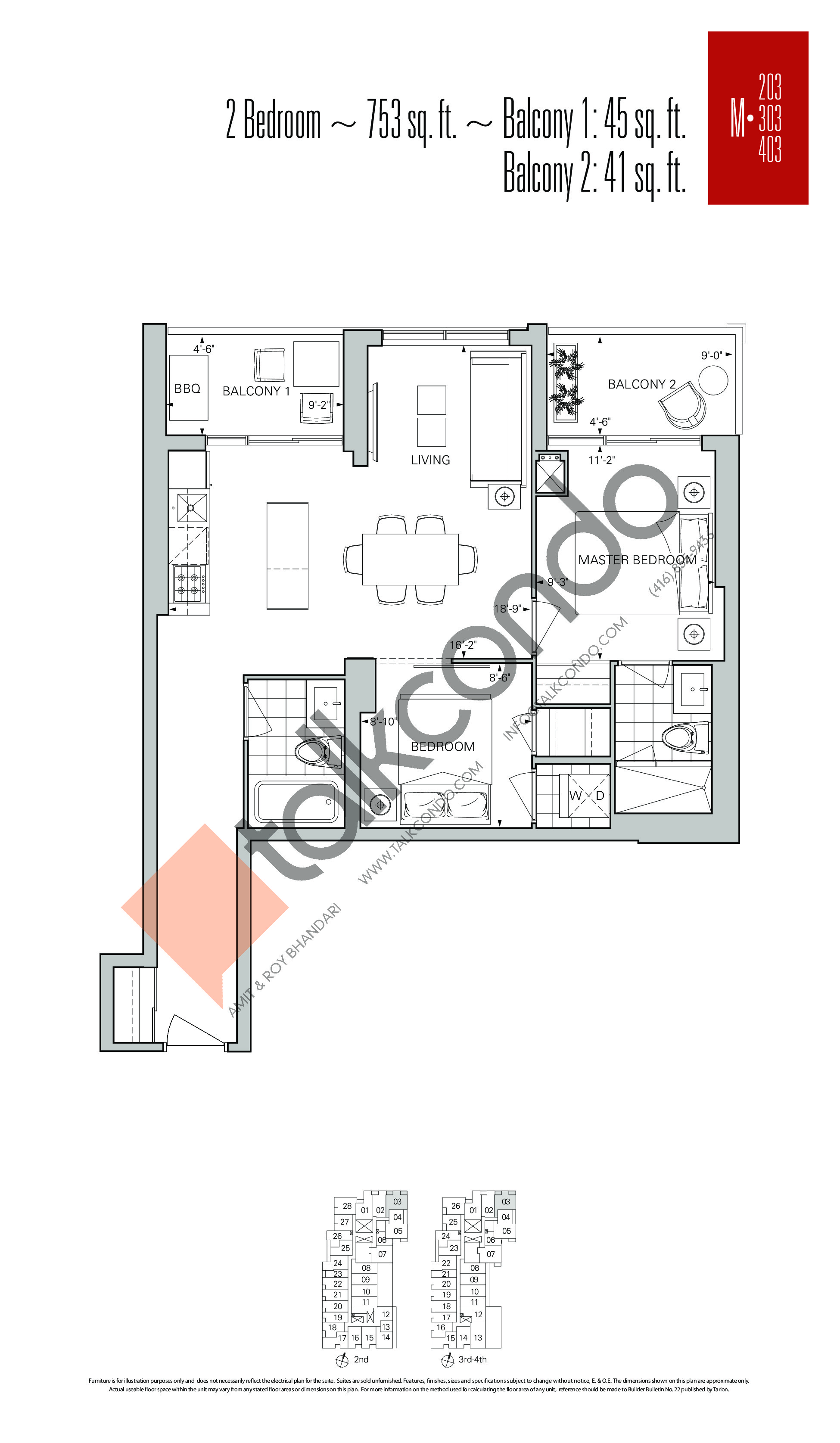 M-03 Floor Plan at Rise Condos - 753 sq.ft
