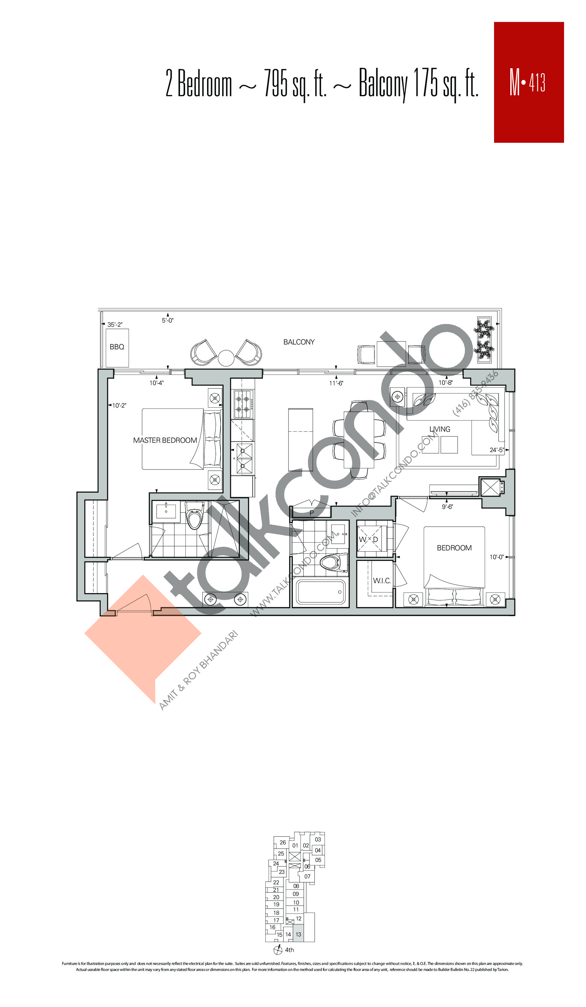 M-413 Floor Plan at Rise Condos - 795 sq.ft