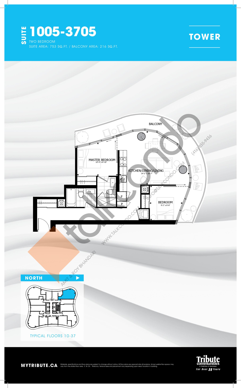 1005-3705 Floor Plan at Stanley Condos - 753 sq.ft