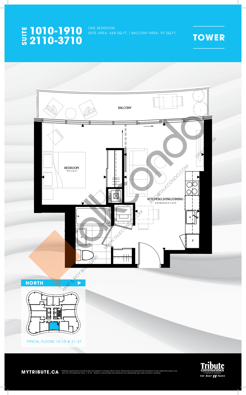 1010-1910   2110-3710 Floor Plan at Stanley Condos - 448 sq.ft