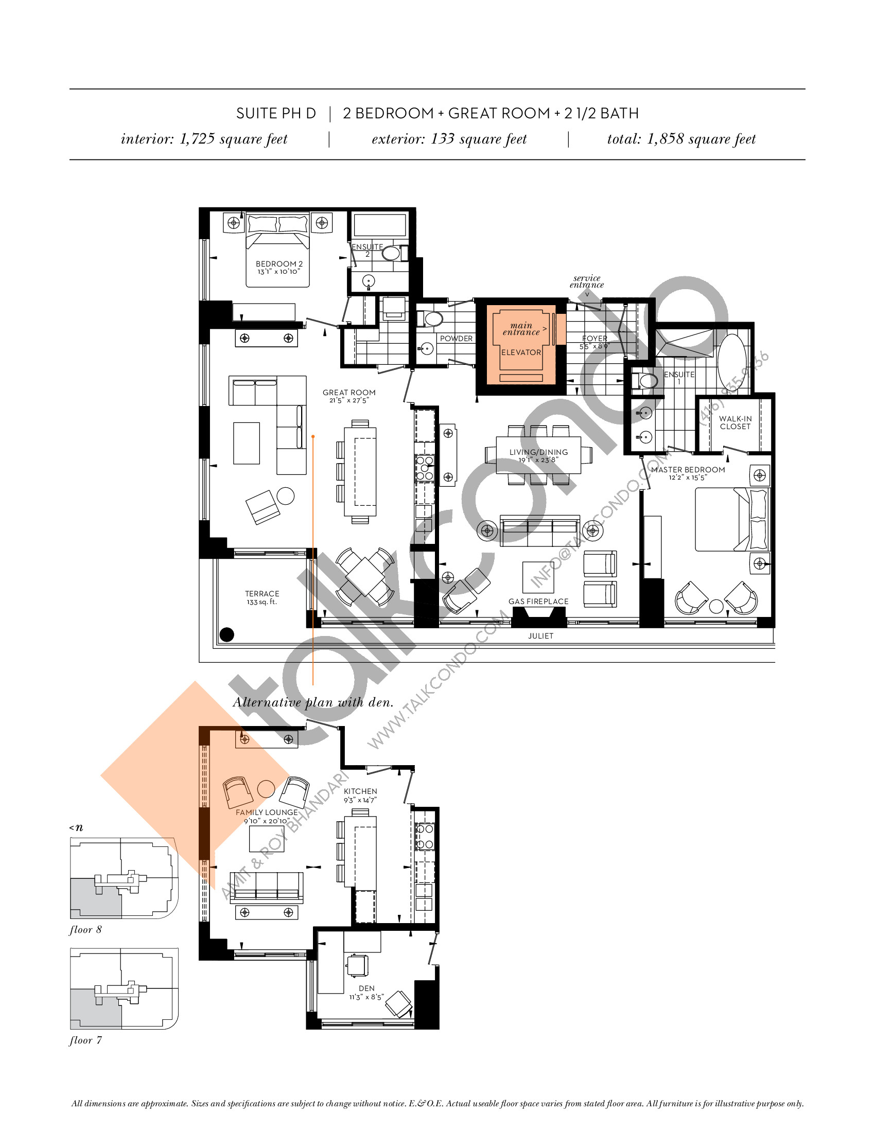 Suite PH D Floor Plan at The Davies - 1725 sq.ft