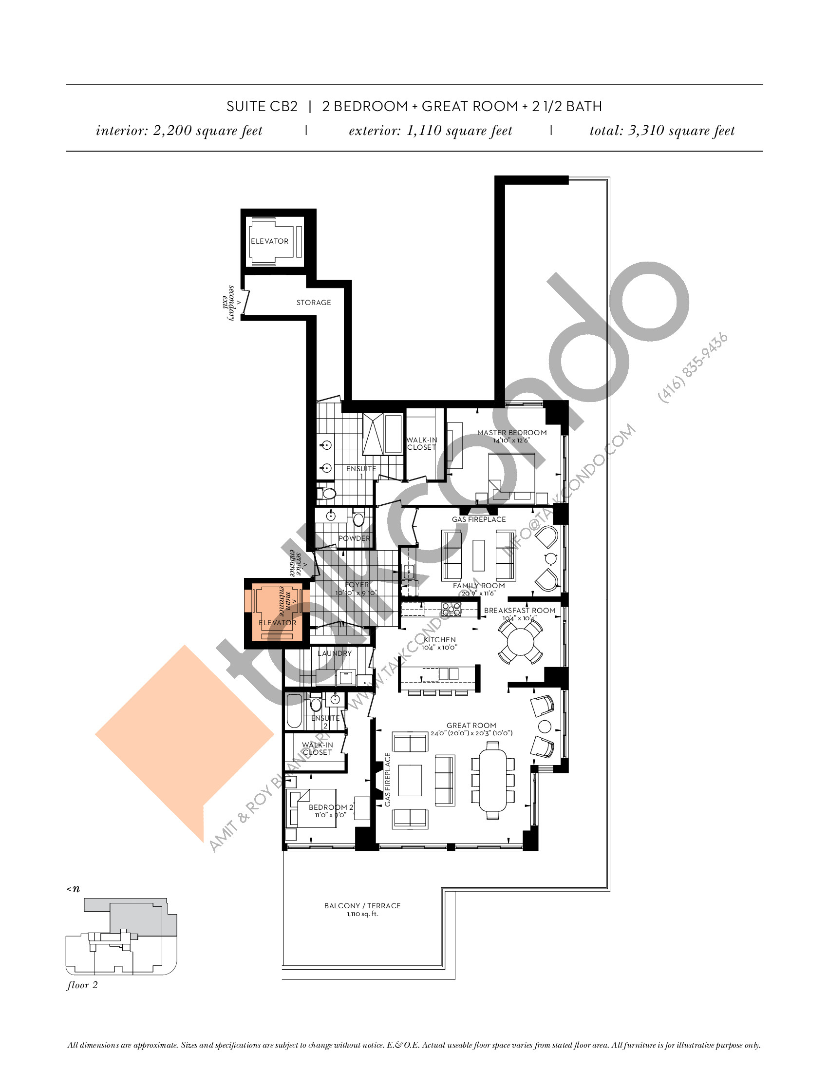 Suite CB2 Floor Plan at The Davies - 2200 sq.ft