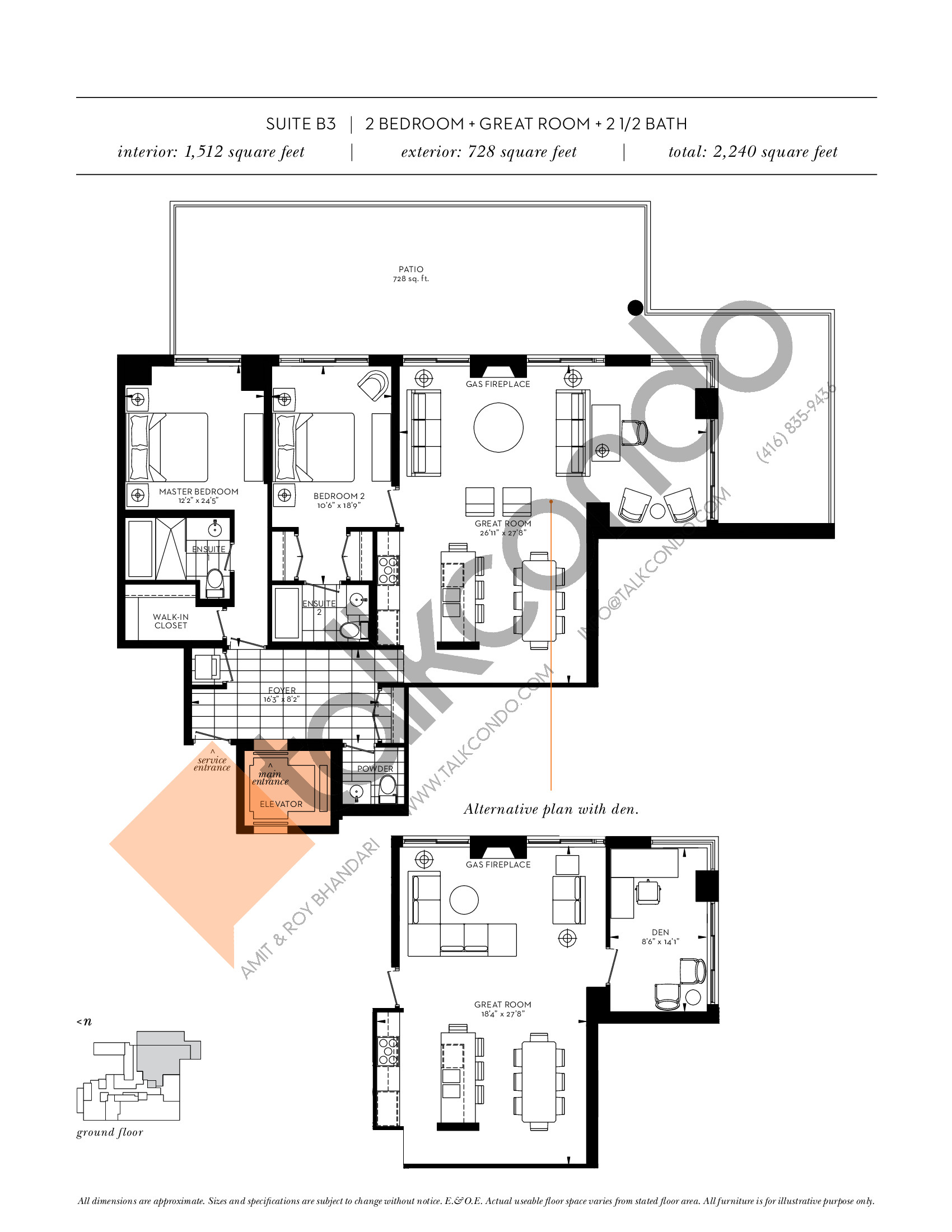 Suite B3 Floor Plan at The Davies - 1512 sq.ft