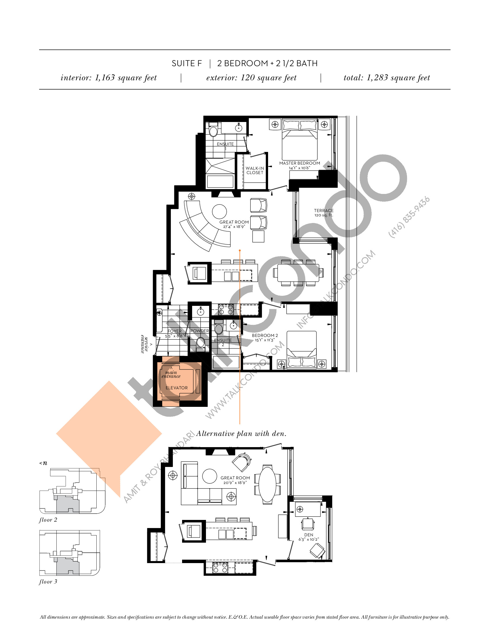 Suite F Floor Plan at The Davies - 1163 sq.ft