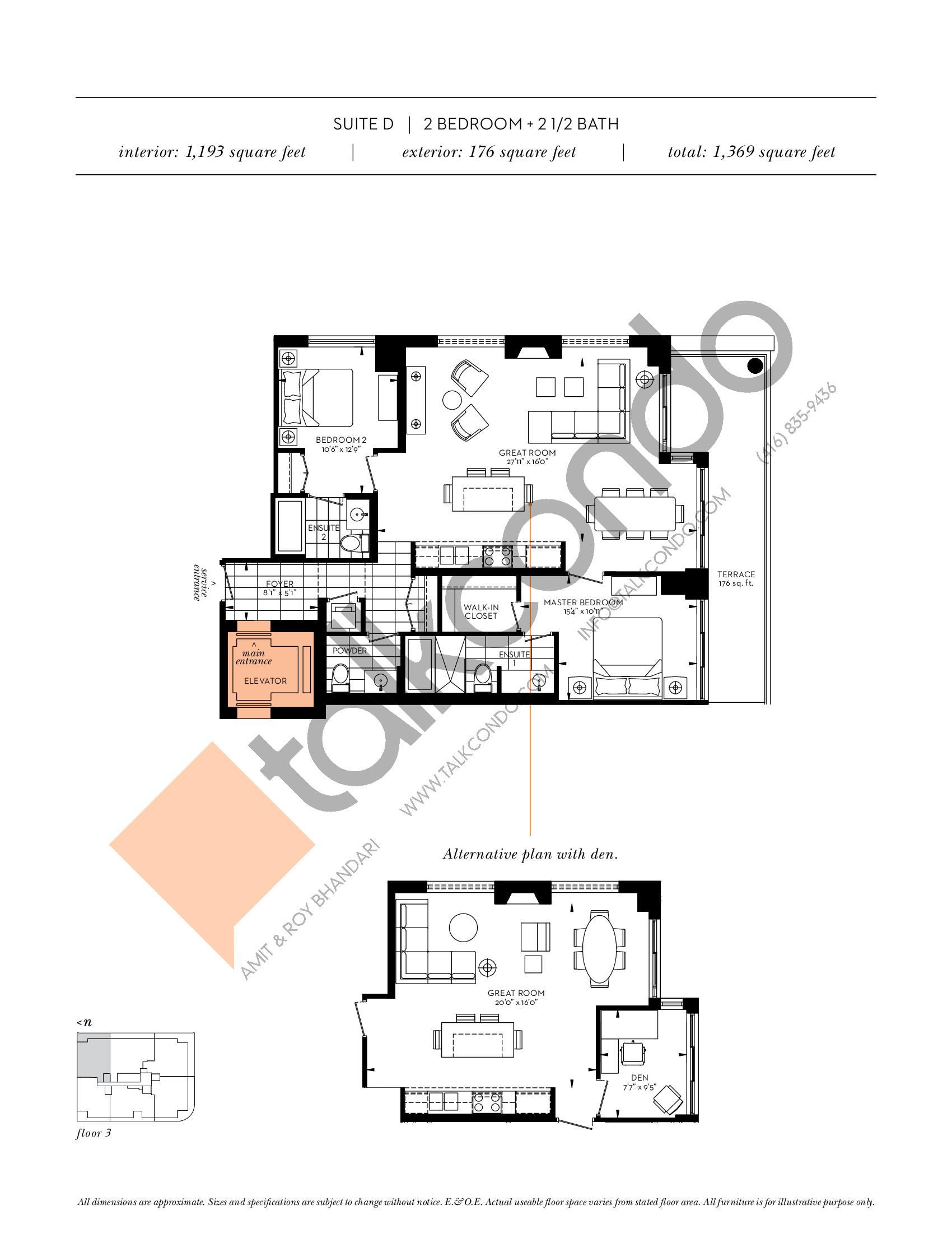 Suite D Floor Plan at The Davies - 1193 sq.ft