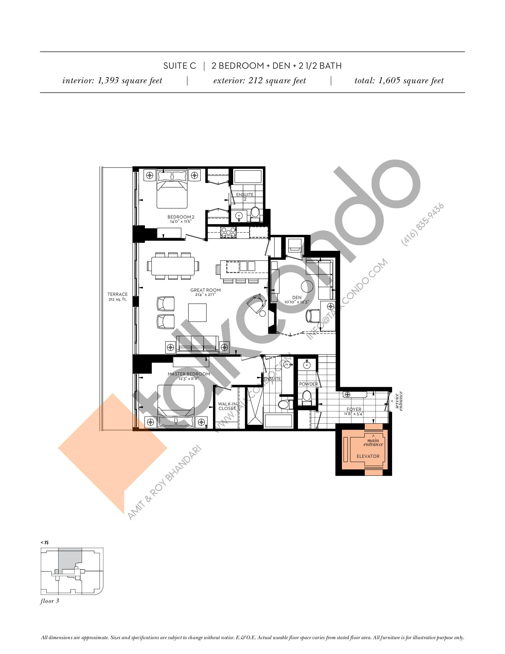 Suite C Floor Plan at The Davies - 1393 sq.ft