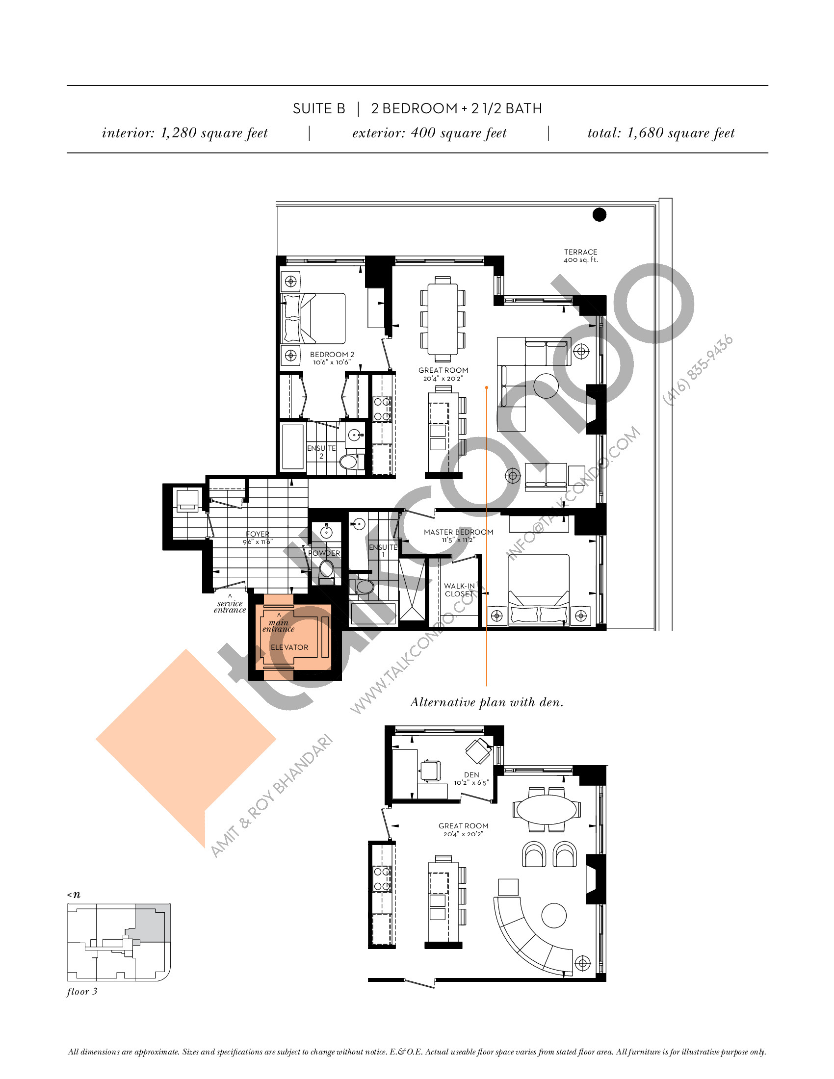 Suite B Floor Plan at The Davies - 1280 sq.ft