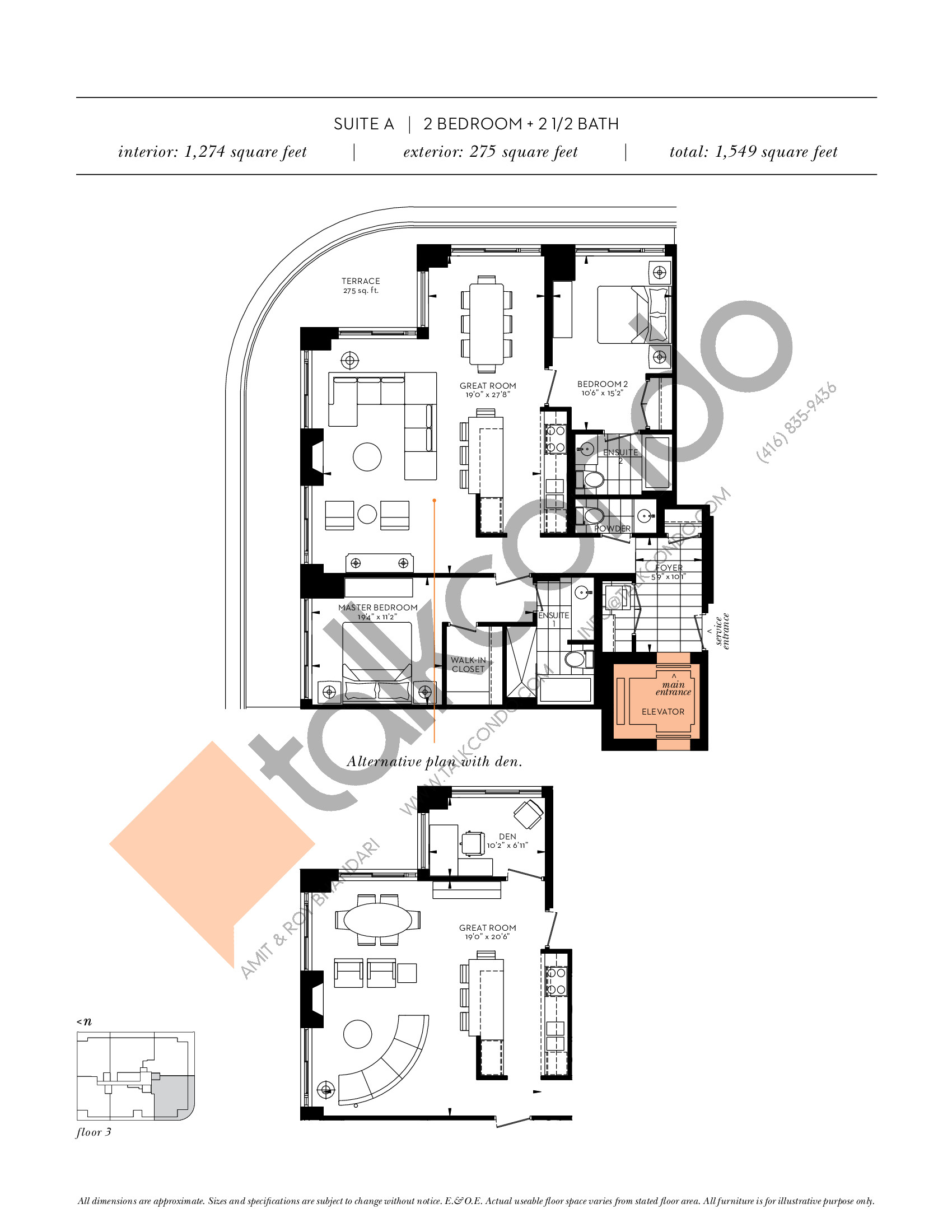 Suite A Floor Plan at The Davies - 1274 sq.ft