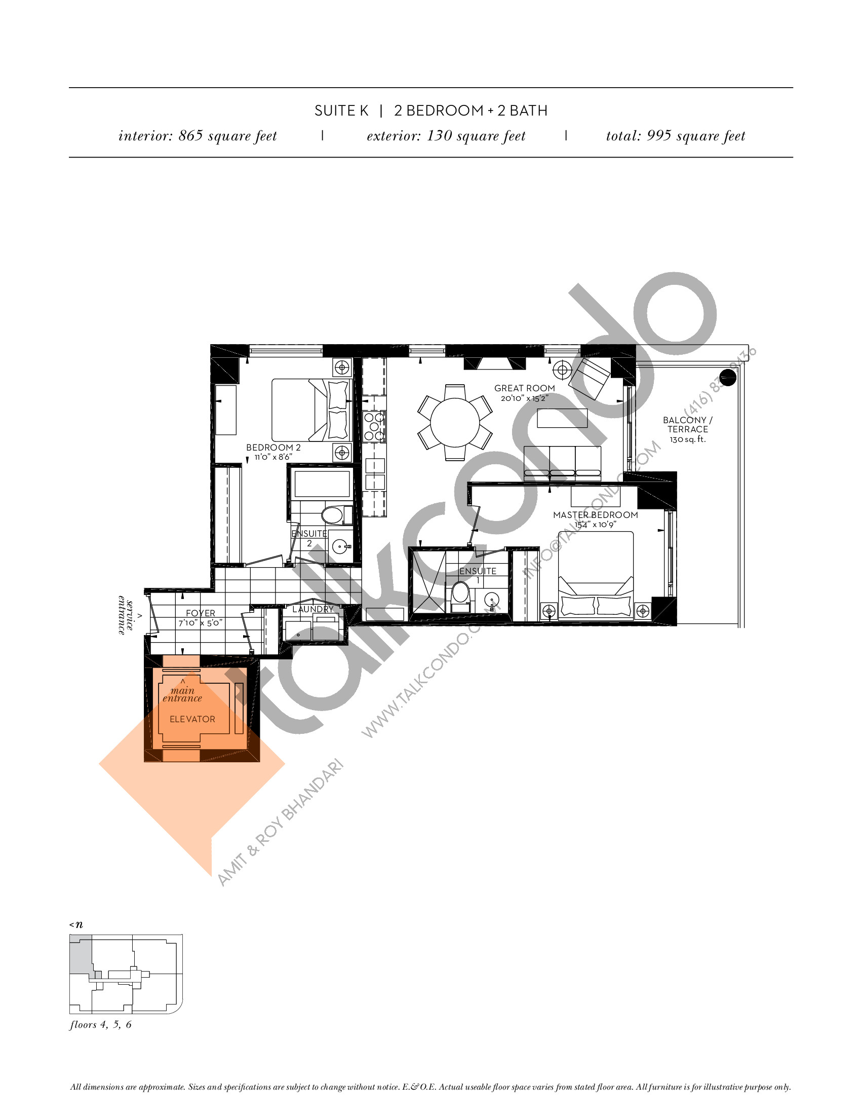 Suite K Floor Plan at The Davies - 865 sq.ft