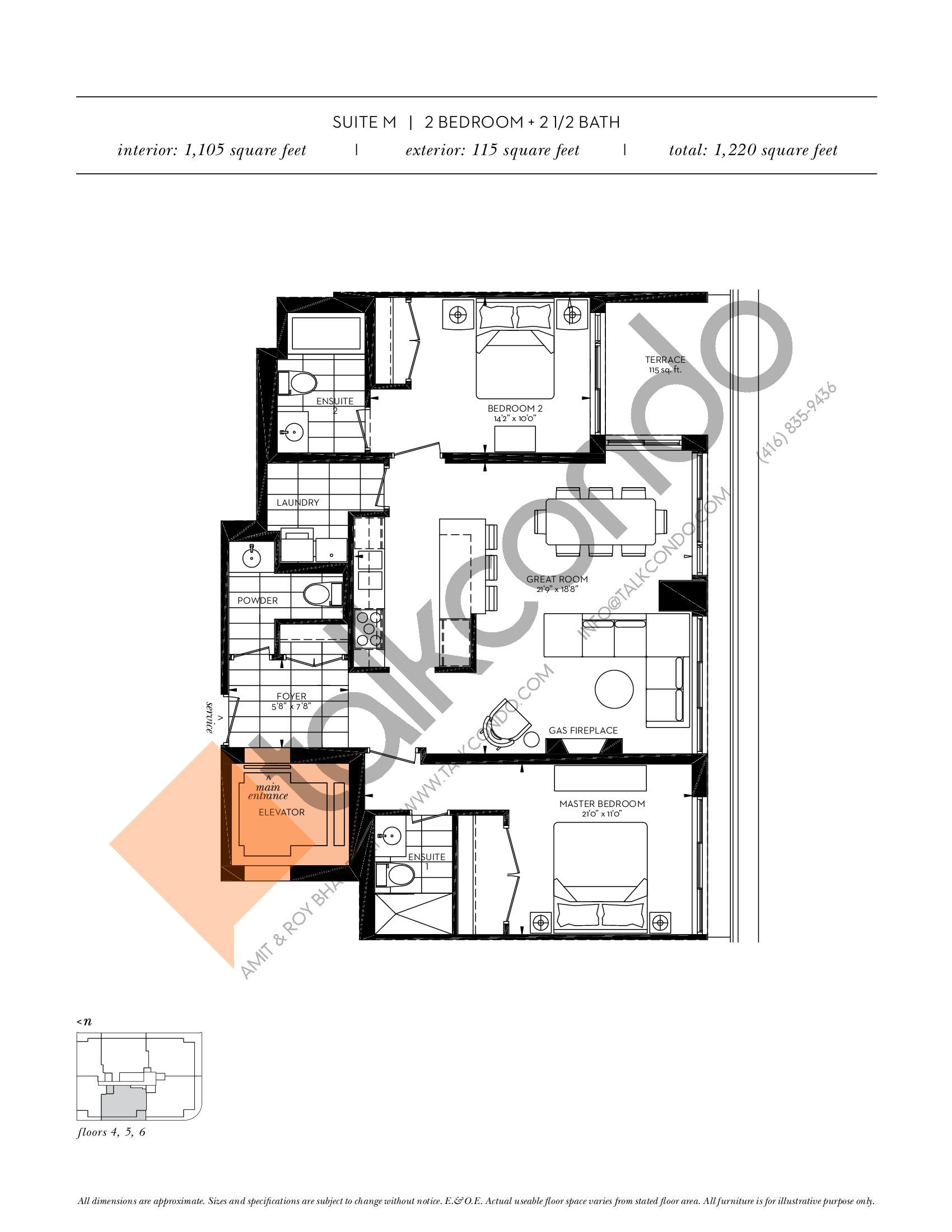 Suite M Floor Plan at The Davies - 1105 sq.ft