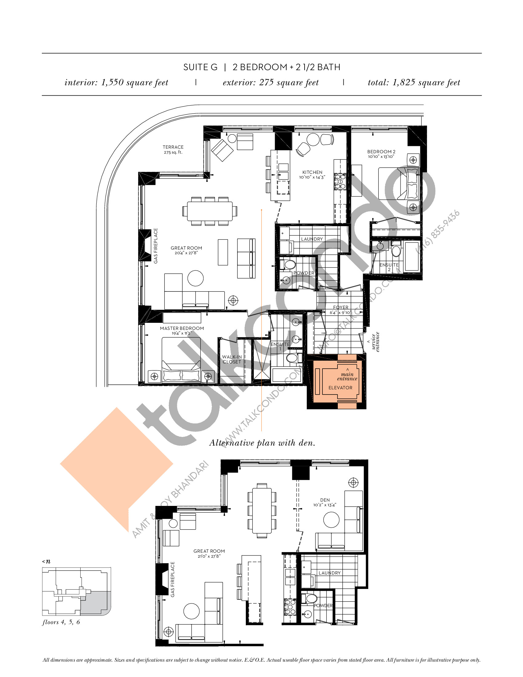 Suite G Floor Plan at The Davies - 1550 sq.ft