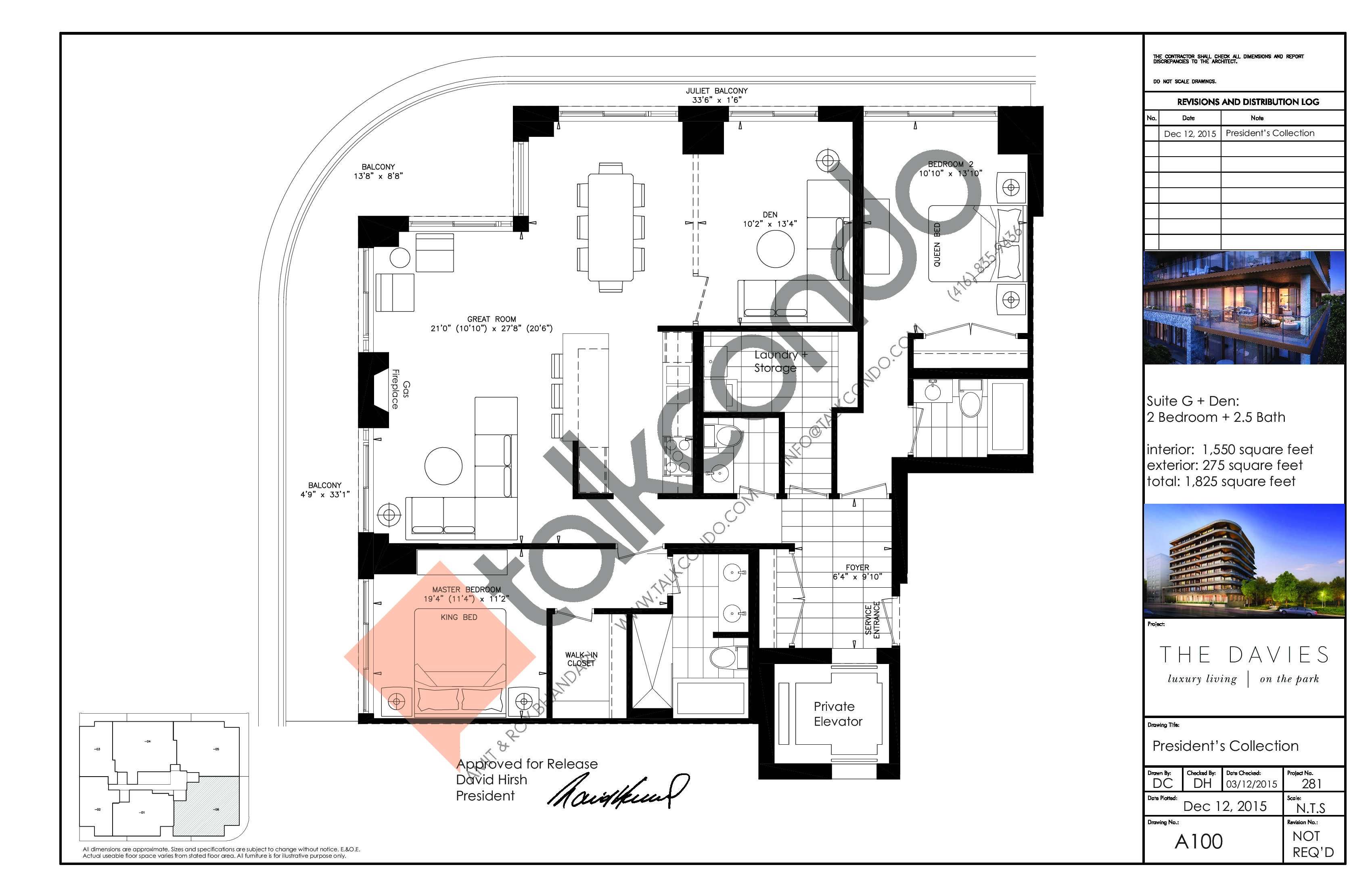 Suite G + Den Floor Plan at The Davies - 1550 sq.ft