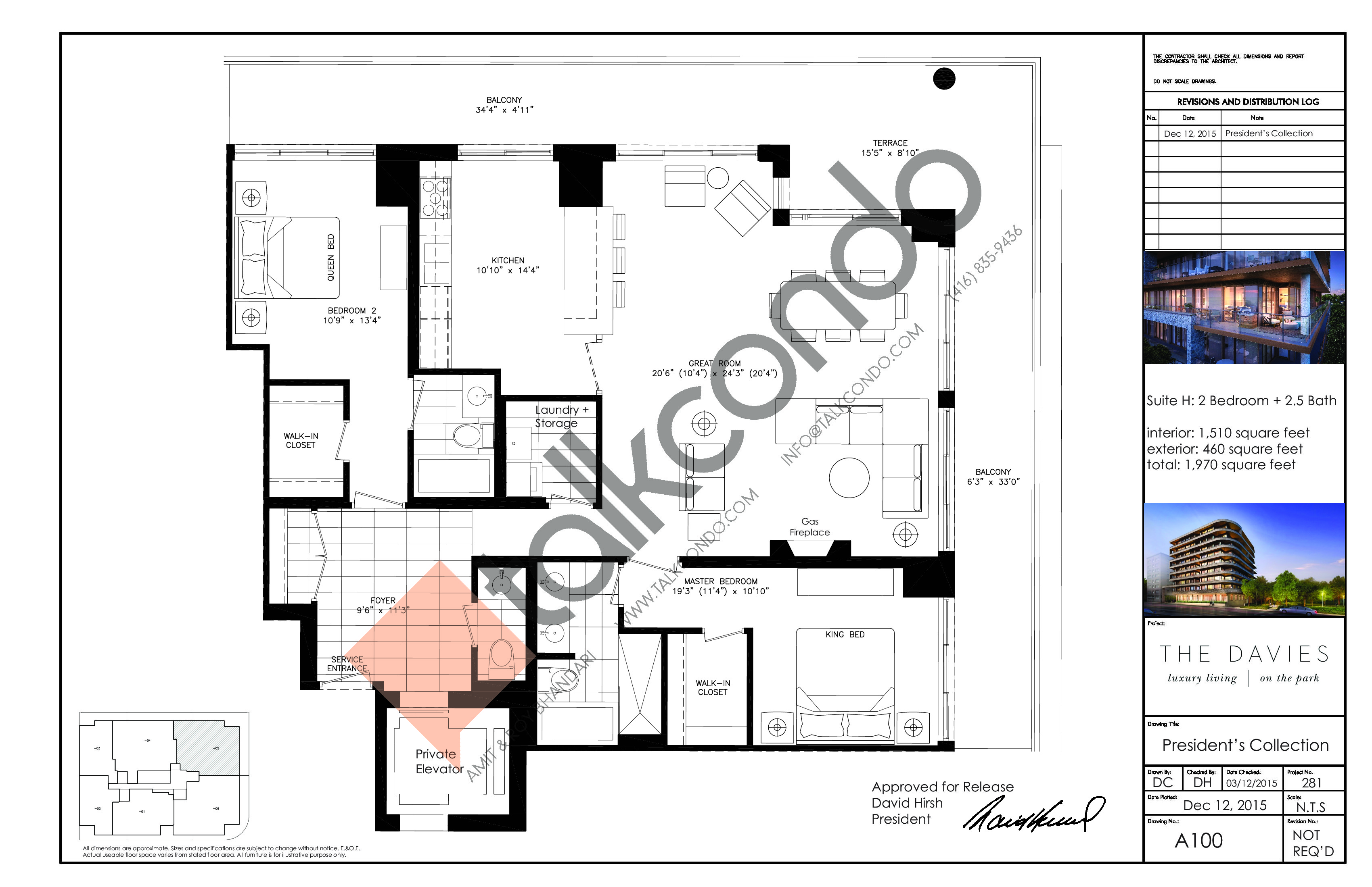 Suite H Floor Plan at The Davies - 1510 sq.ft