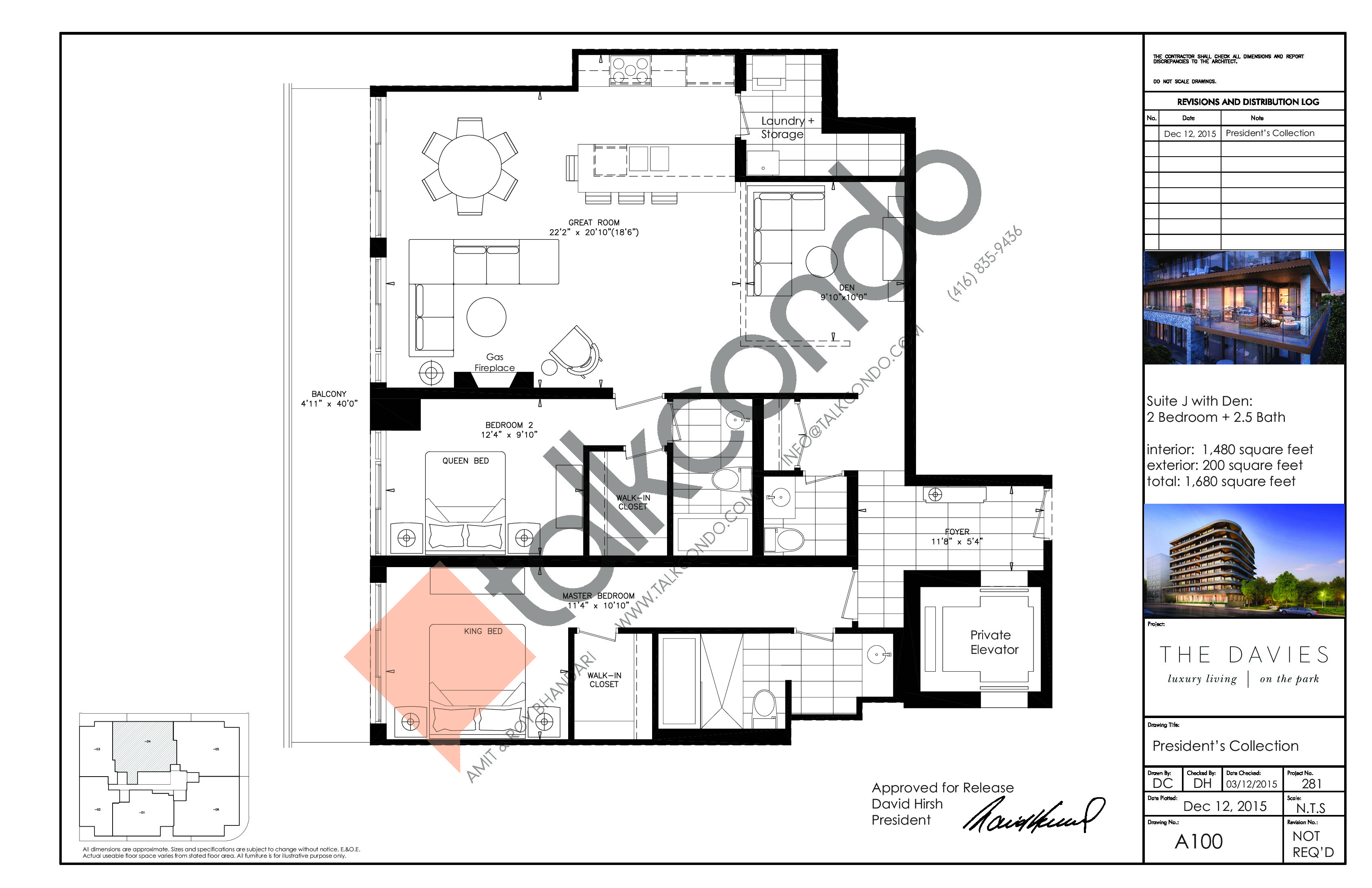 Suite J with Den Floor Plan at The Davies - 1480 sq.ft