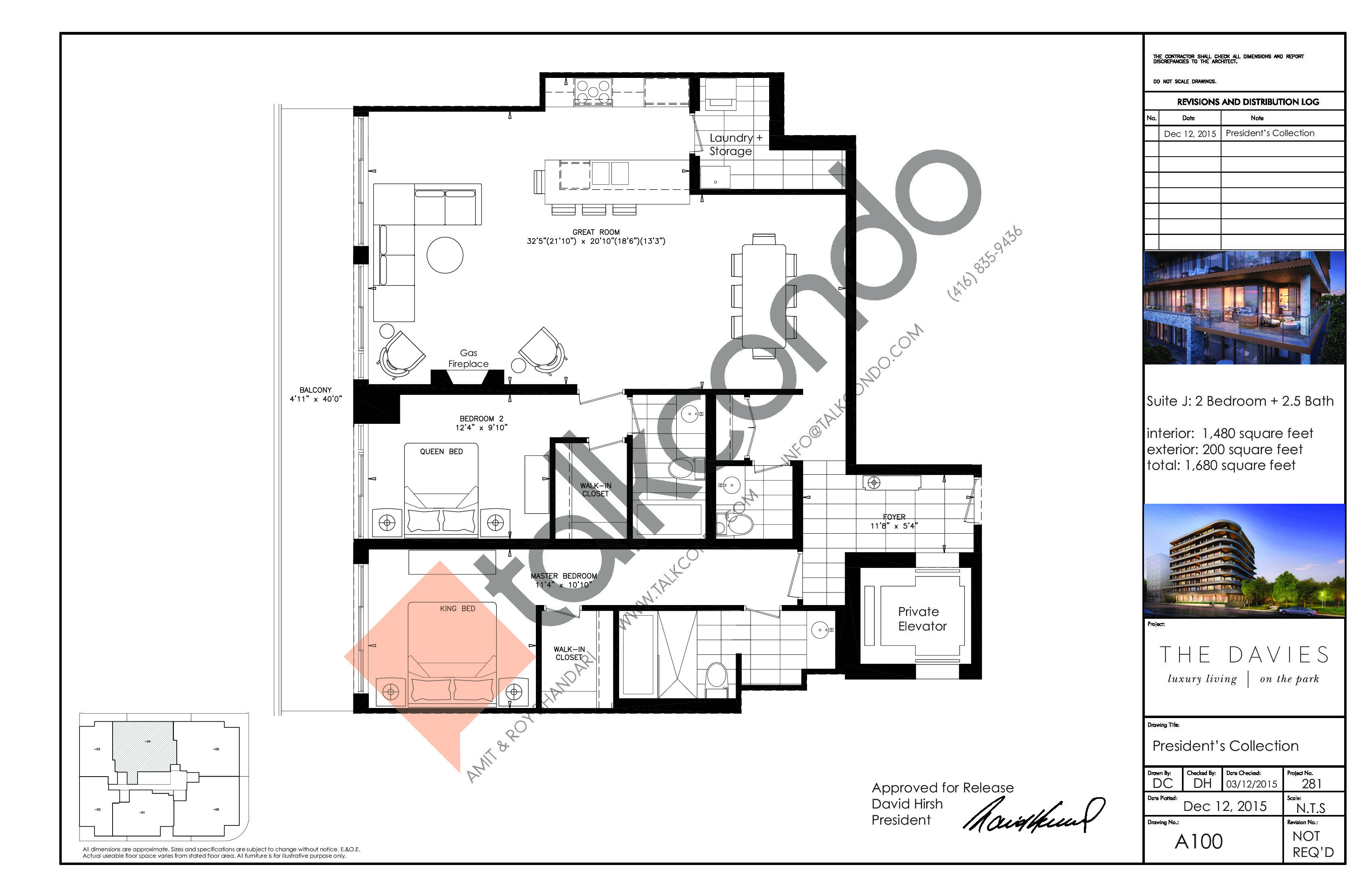 Suite J Floor Plan at The Davies - 1480 sq.ft