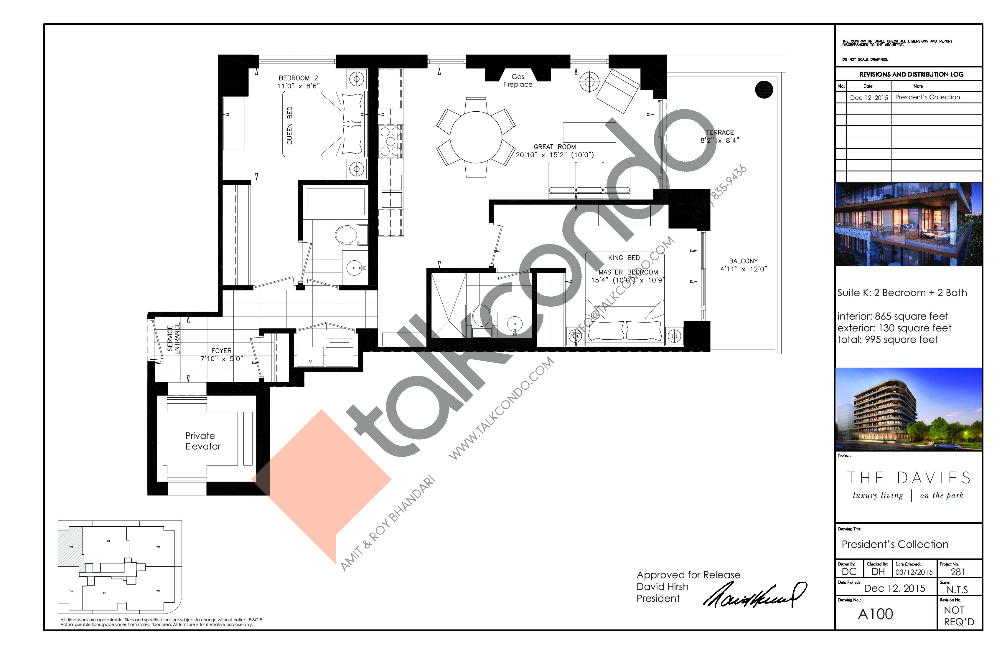 Suite K Floor Plan at The Davies - 865 sq.ft